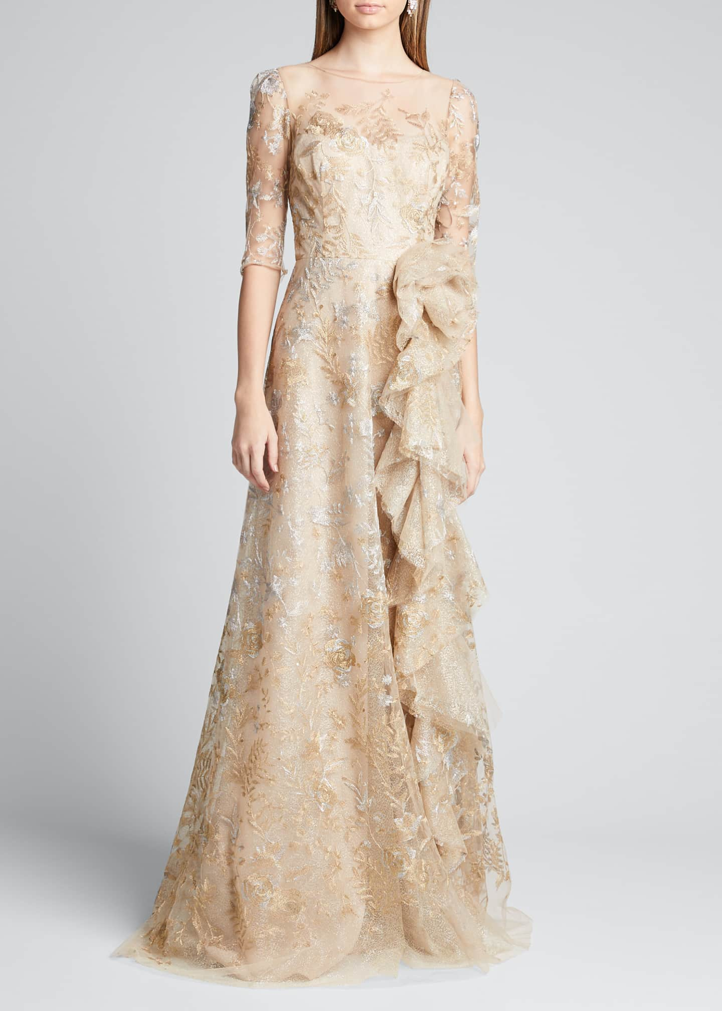Image 3 of 5: Metallic Lace Elbow-Sleeve Side-Ruffle A-Line Gown
