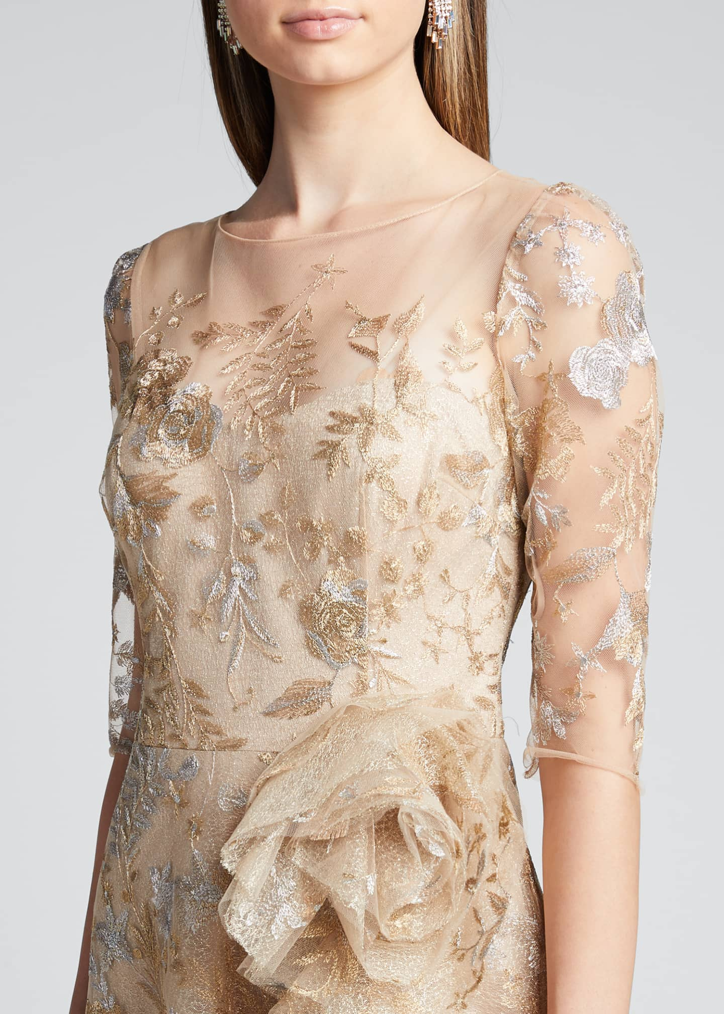 Image 4 of 5: Metallic Lace Elbow-Sleeve Side-Ruffle A-Line Gown