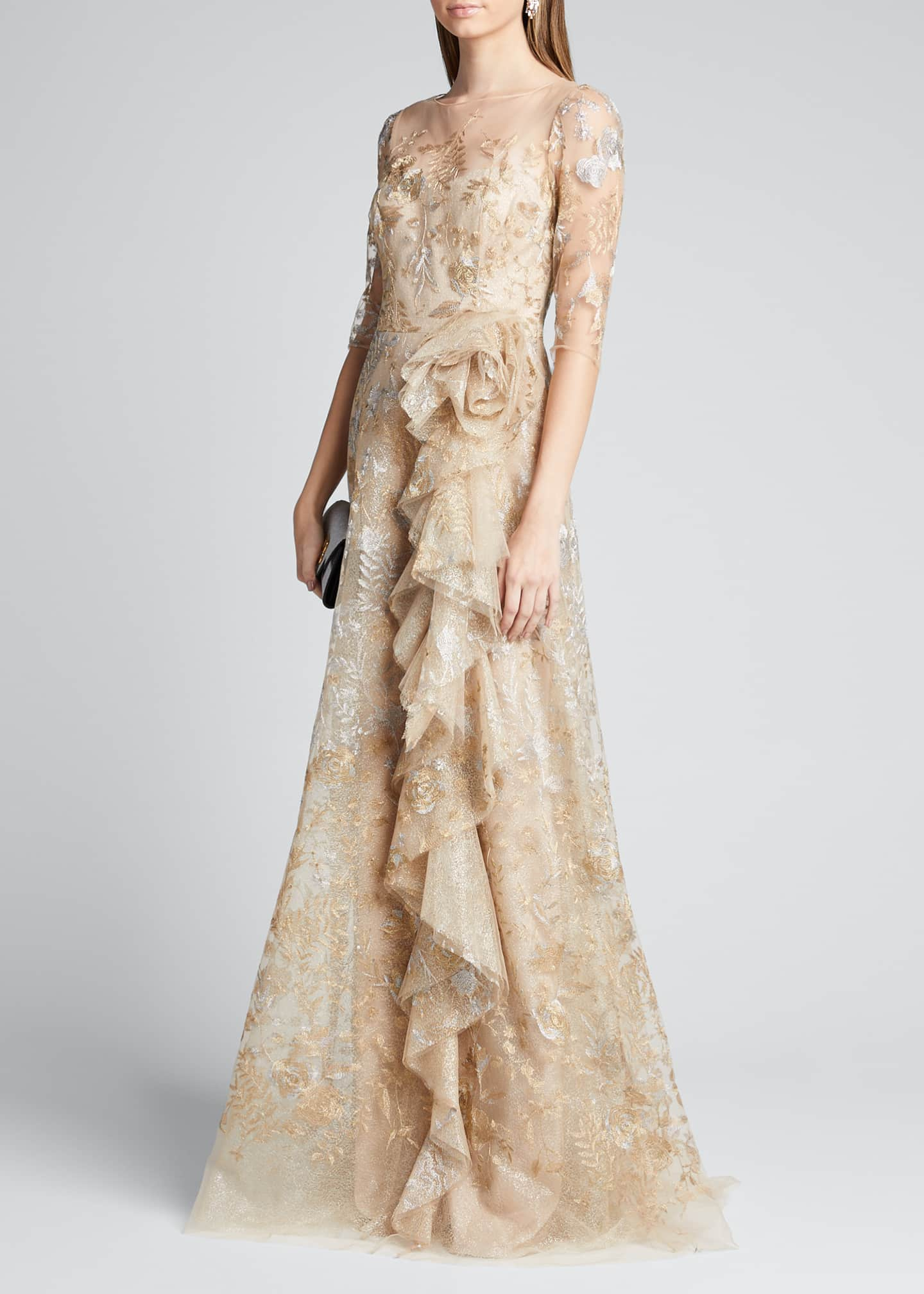 Image 1 of 5: Metallic Lace Elbow-Sleeve Side-Ruffle A-Line Gown