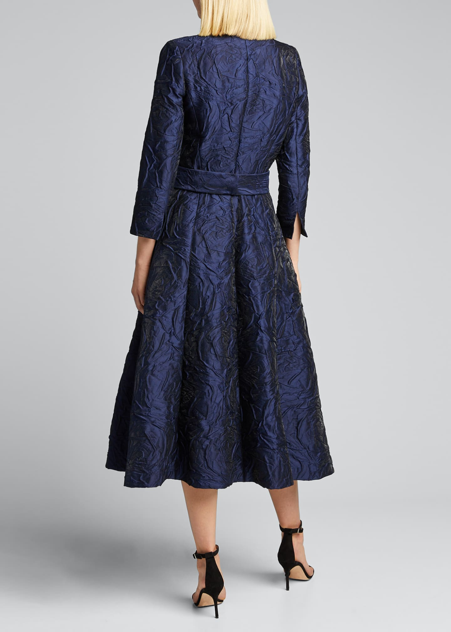 Image 2 of 5: 3/4-Sleeve Jacquard Coat Dress w/ 3D Detail