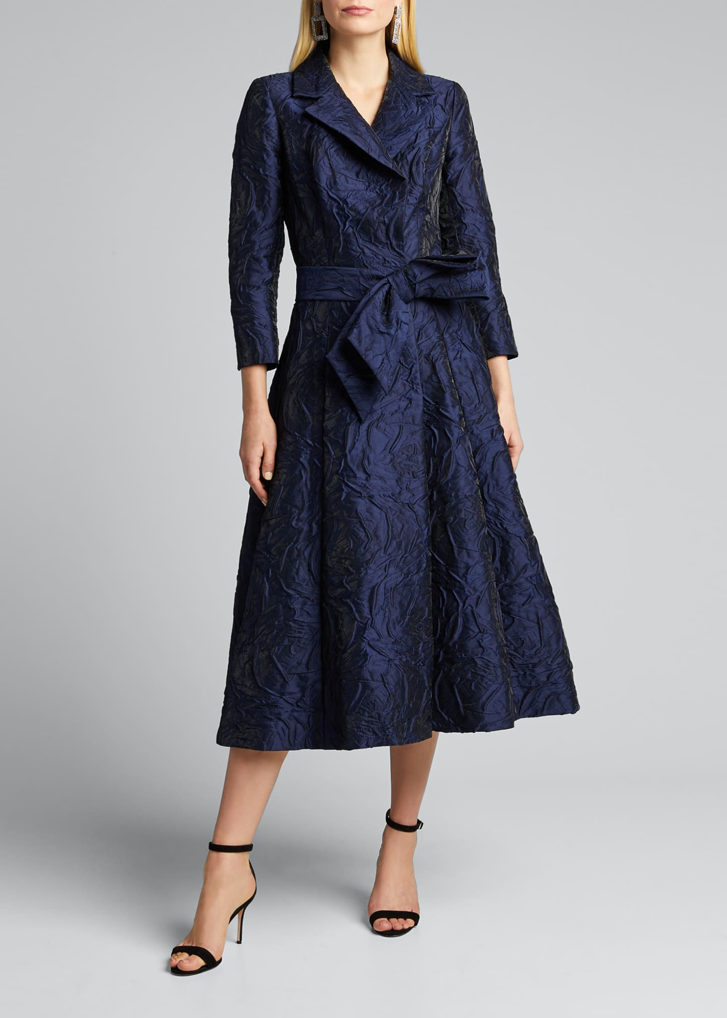Image 3 of 5: 3/4-Sleeve Jacquard Coat Dress w/ 3D Detail