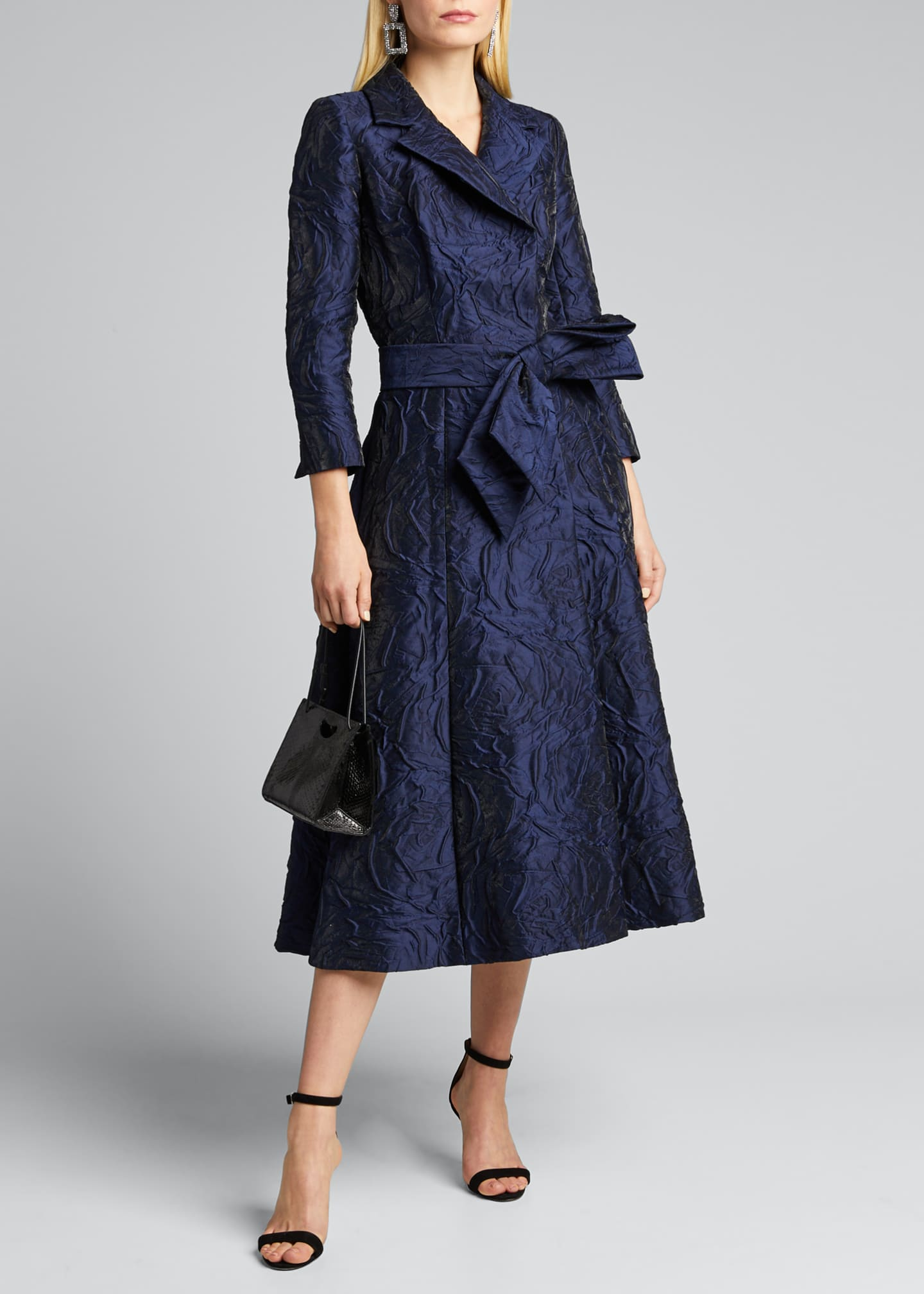 Image 1 of 5: 3/4-Sleeve Jacquard Coat Dress w/ 3D Detail