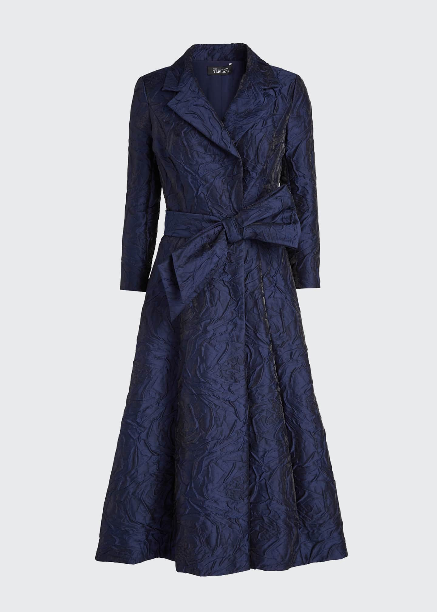 Image 5 of 5: 3/4-Sleeve Jacquard Coat Dress w/ 3D Detail