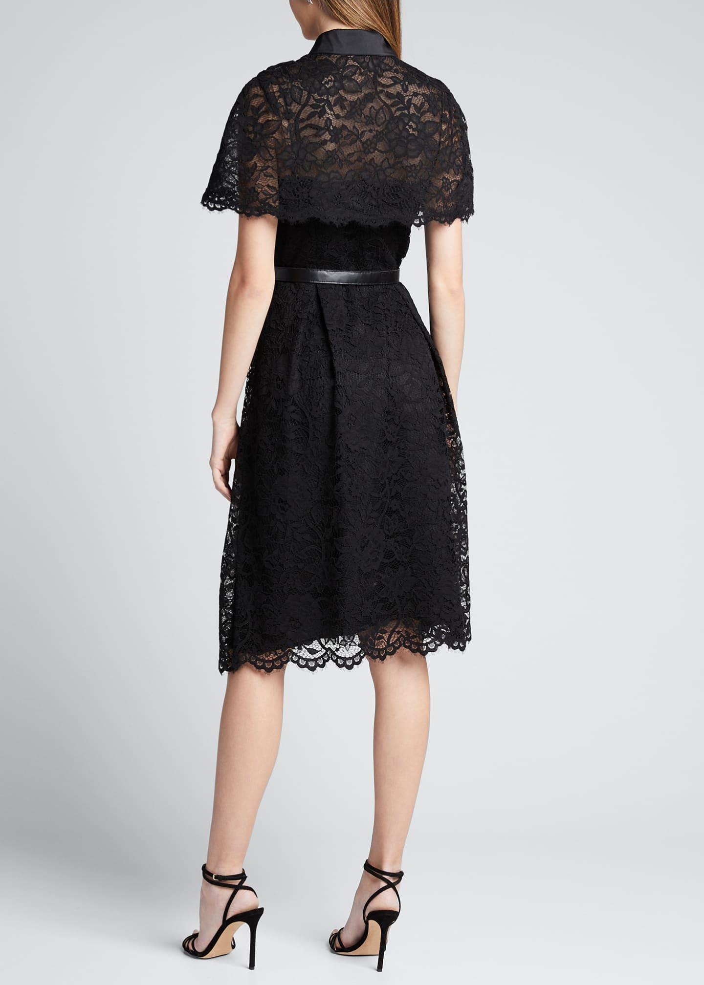 Image 2 of 5: Short-Sleeve Capelet Lace Belted Shirtdress