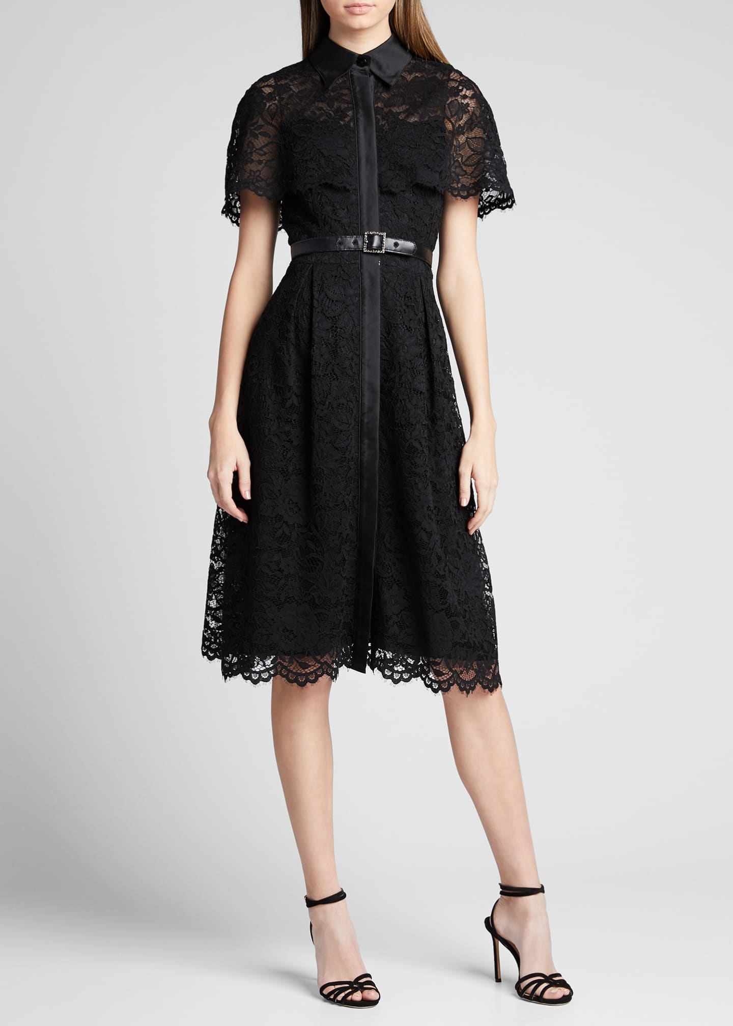 Image 3 of 5: Short-Sleeve Capelet Lace Belted Shirtdress
