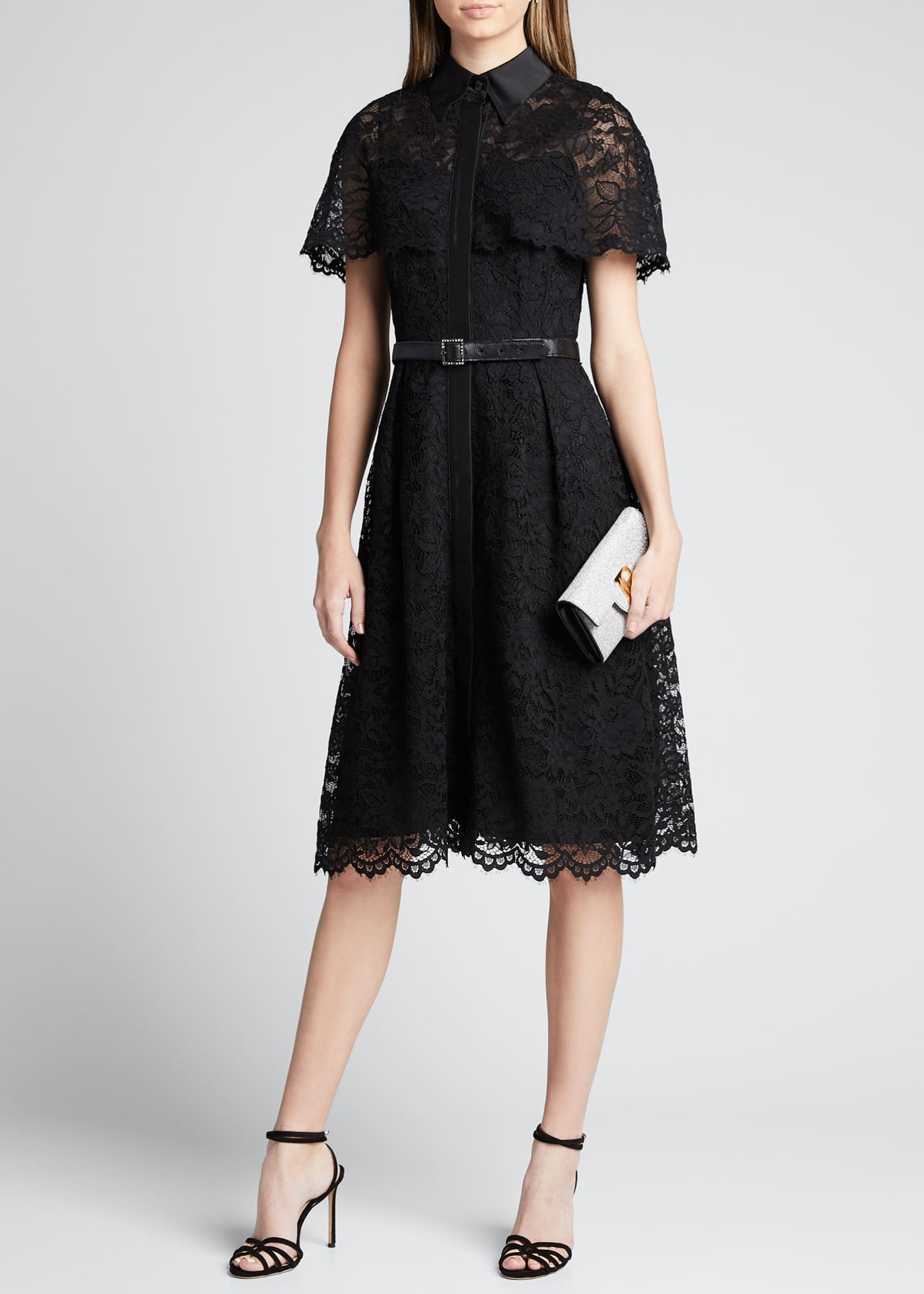 Image 1 of 5: Short-Sleeve Capelet Lace Belted Shirtdress