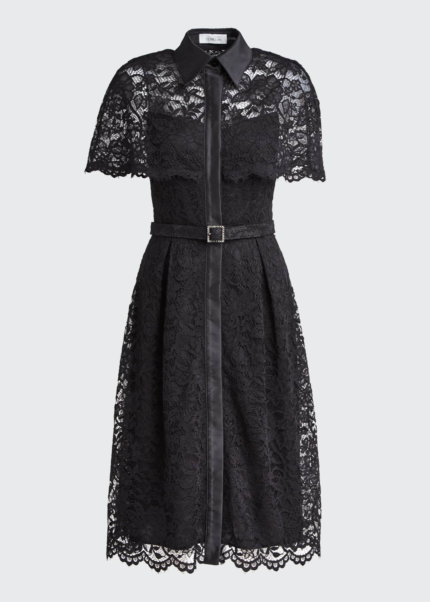 Image 5 of 5: Short-Sleeve Capelet Lace Belted Shirtdress