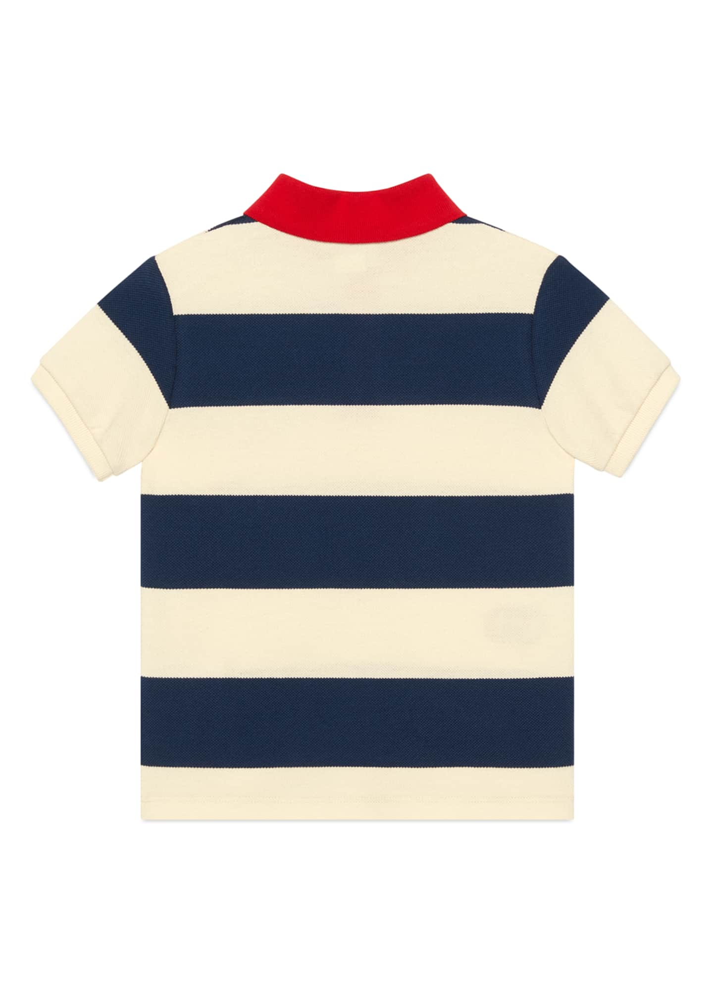 Image 2 of 2: Boy's Striped Polo Shirt with Interlocking G Patch, Size 4-12