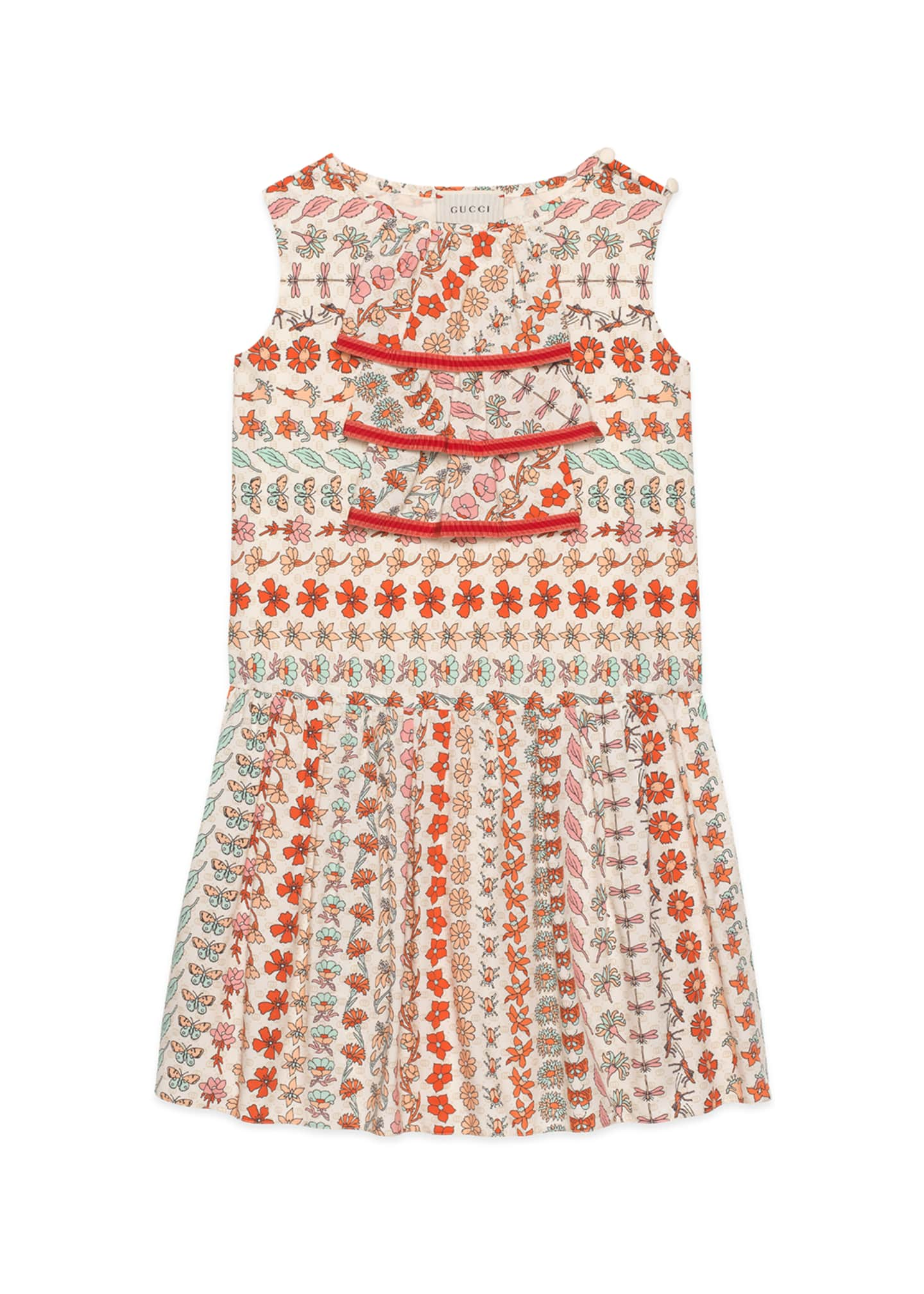 Image 1 of 2: Spring Bouquet Striped Poplin Sleeveless Dress, Size 4-12