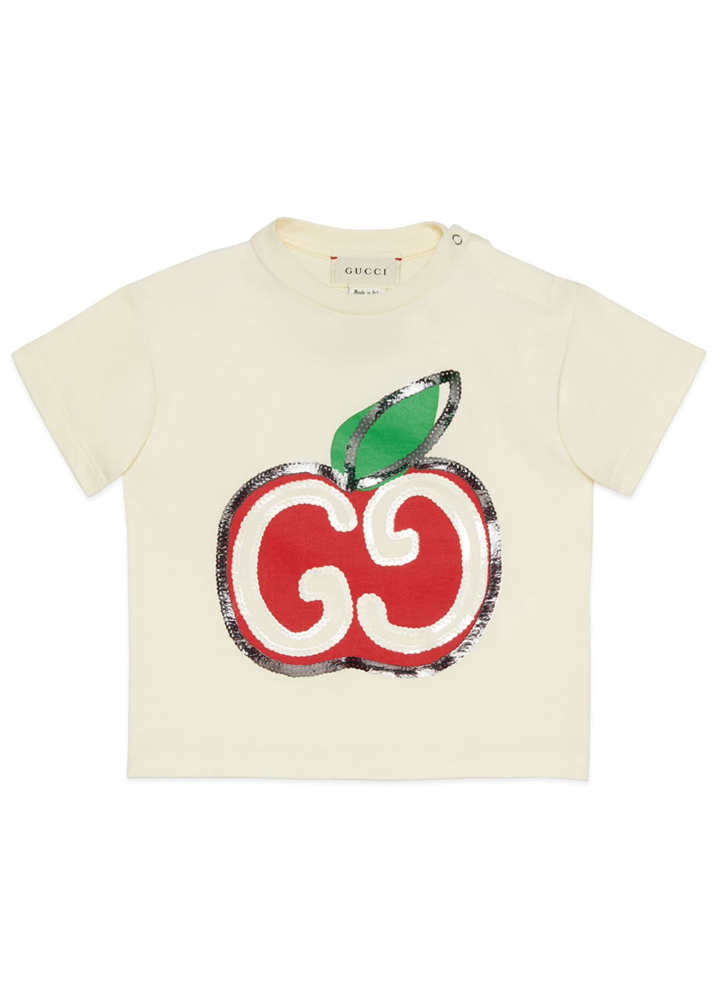 Image 1 of 2: Girl's Sequin GG Apple Graphic T-Shirt, Size 12-36 Months