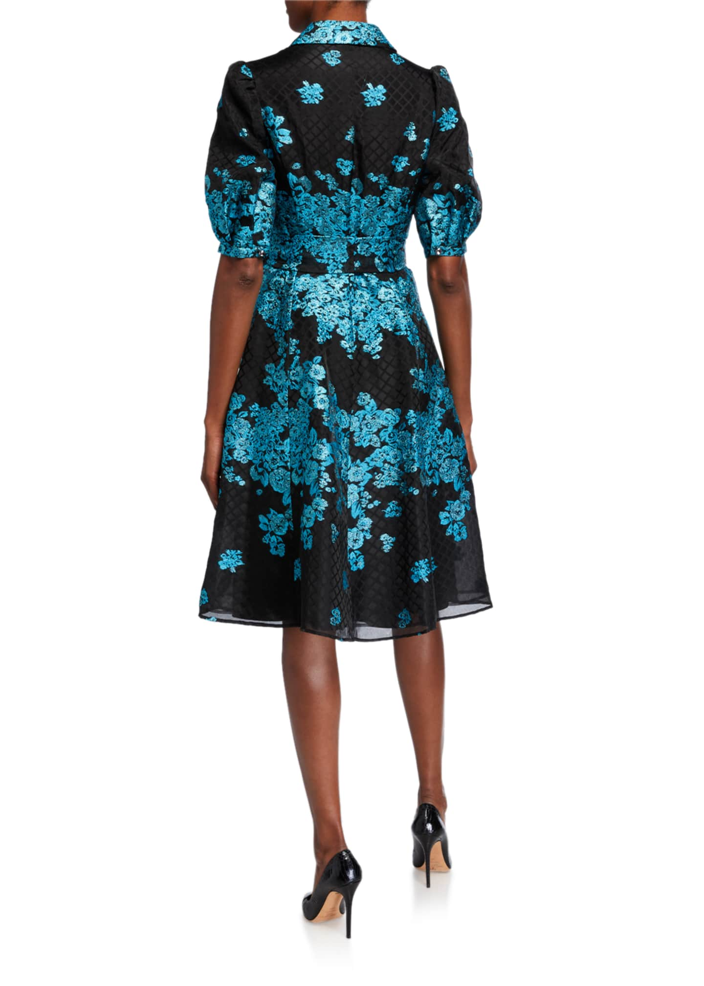 Image 2 of 2: Metallic Floral Embroidered Belted Organza Shirtdress