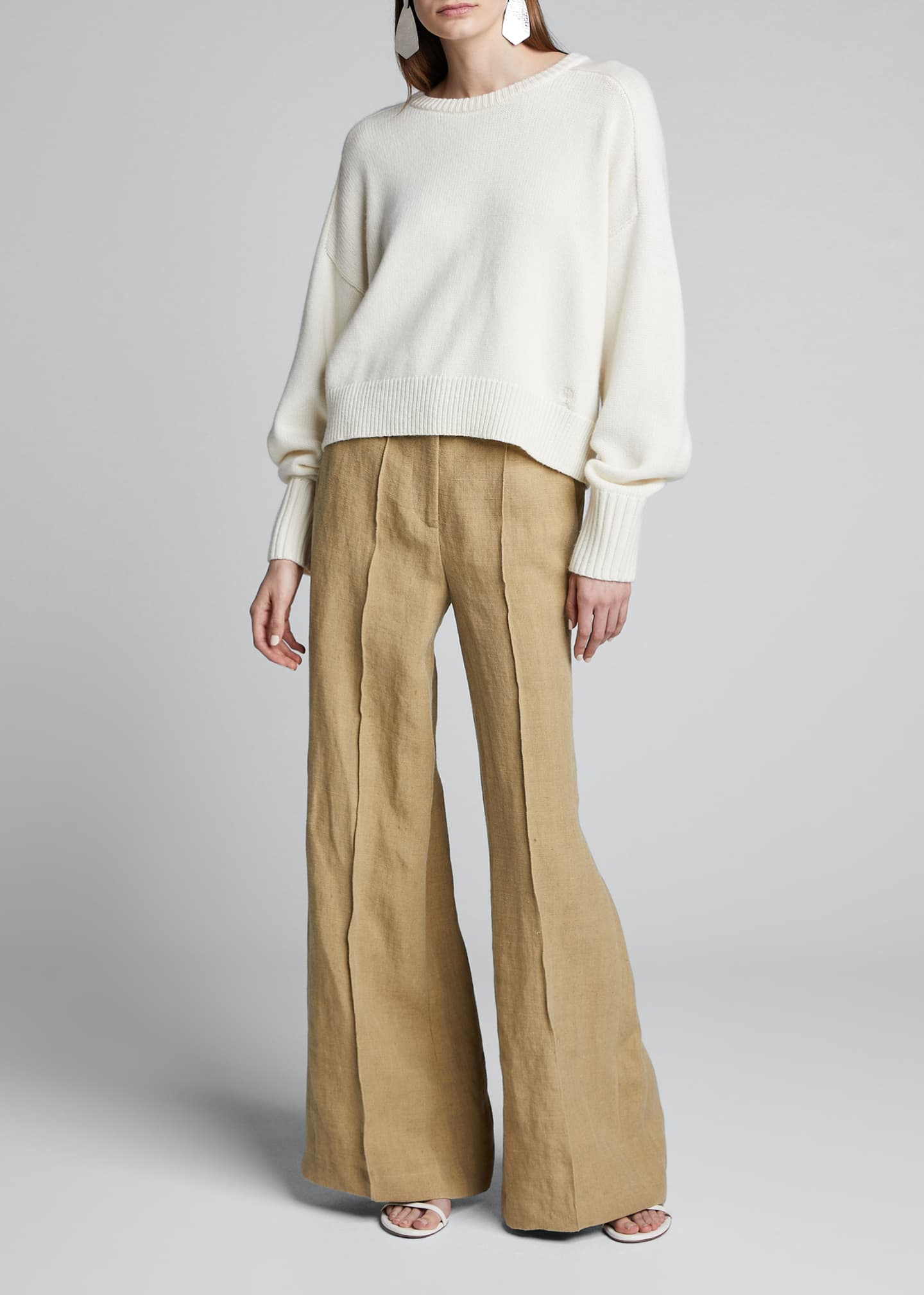 Loulou Studio Wool-Cashmere Classic Slouch-Sleeve Sweater