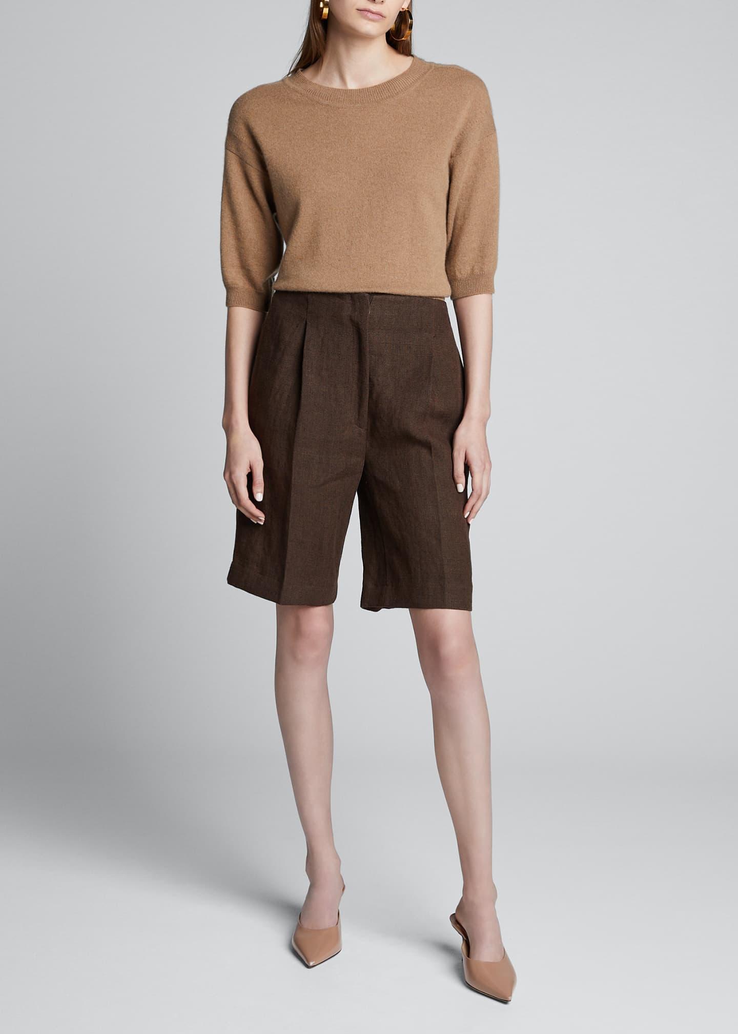 Loulou Studio Heavy Linen Knee Shorts