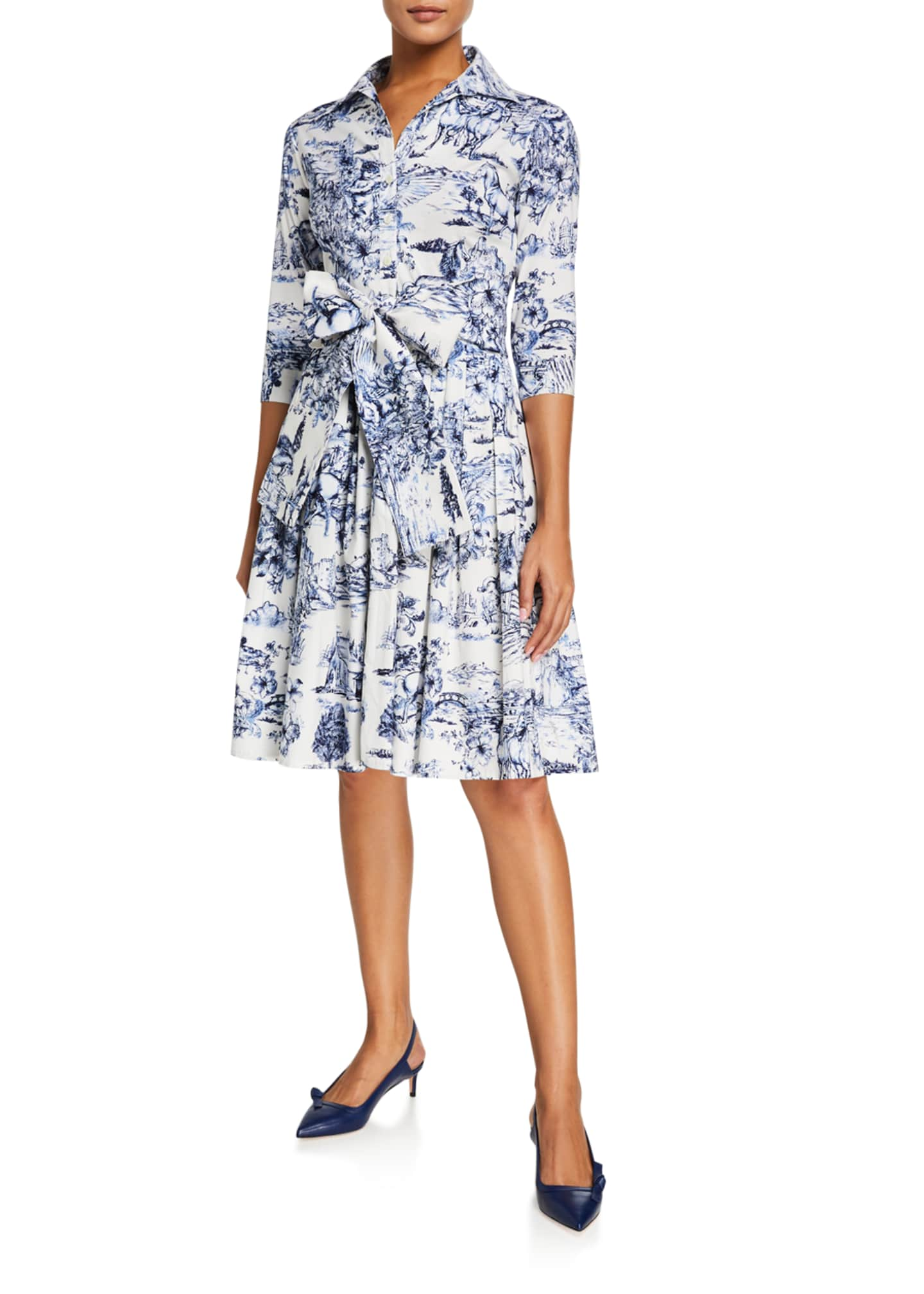 Image 2 of 3: Audrey Da Vinci Toile Stretch Cotton Belted Dress