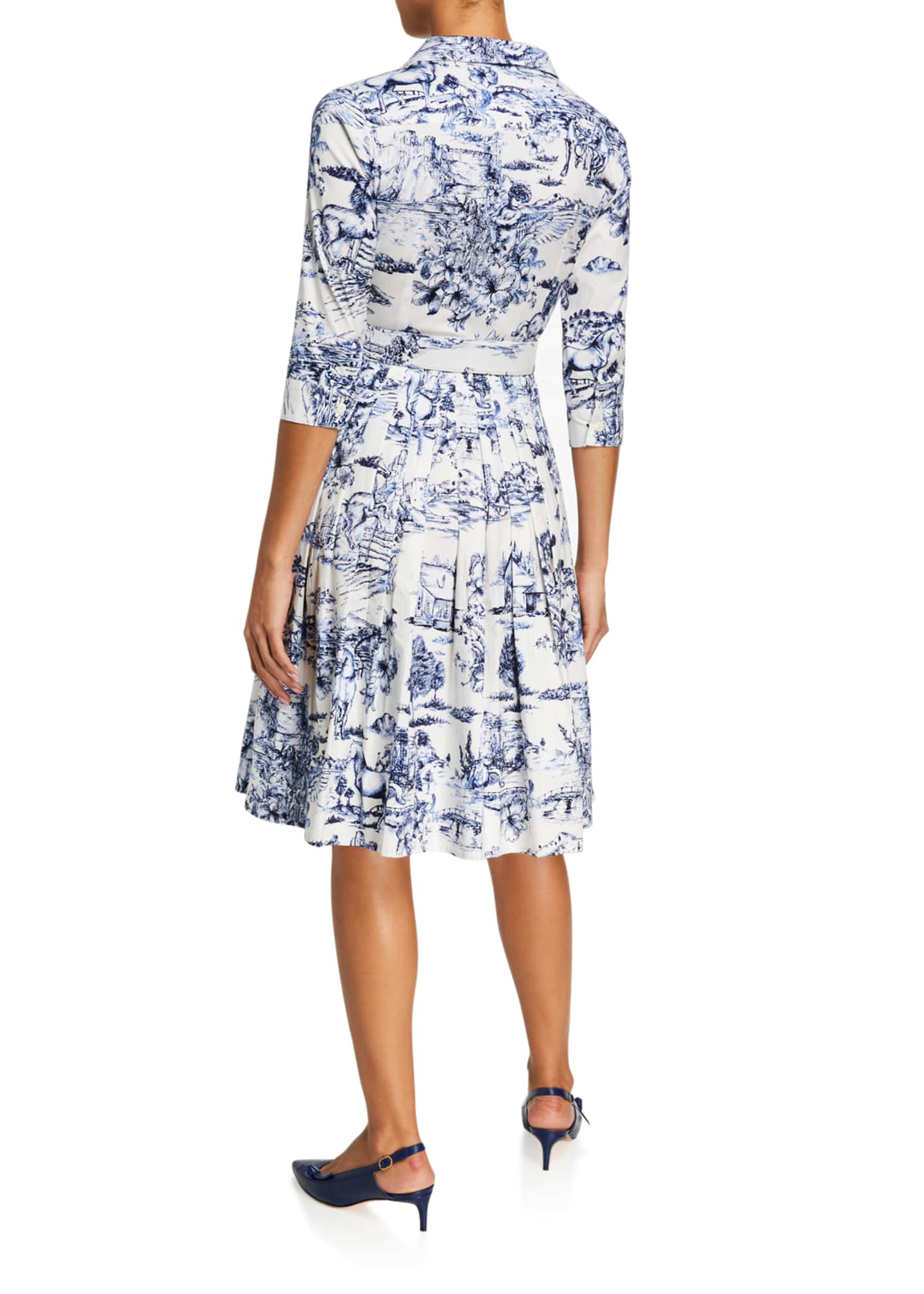 Image 3 of 3: Audrey Da Vinci Toile Stretch Cotton Belted Dress