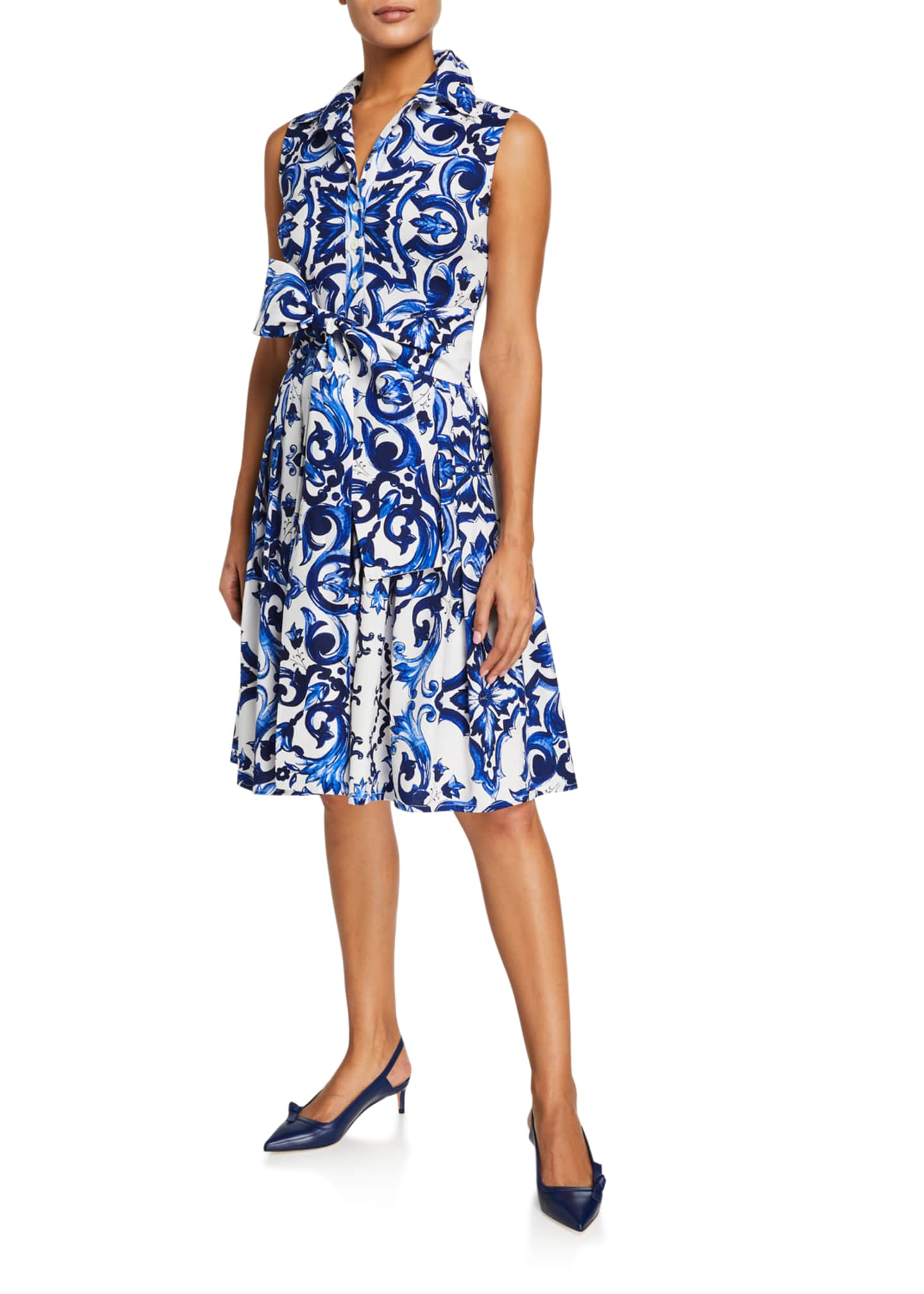 Image 2 of 3: Audrey Sleeveless Paros Admiral Tile Stretch Cotton Shirtdress