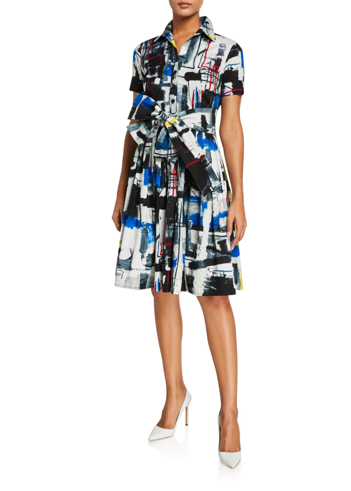 Image 2 of 3: Audrey Short-Sleeve Newman Abstract Stretch Cotton Shirtdress