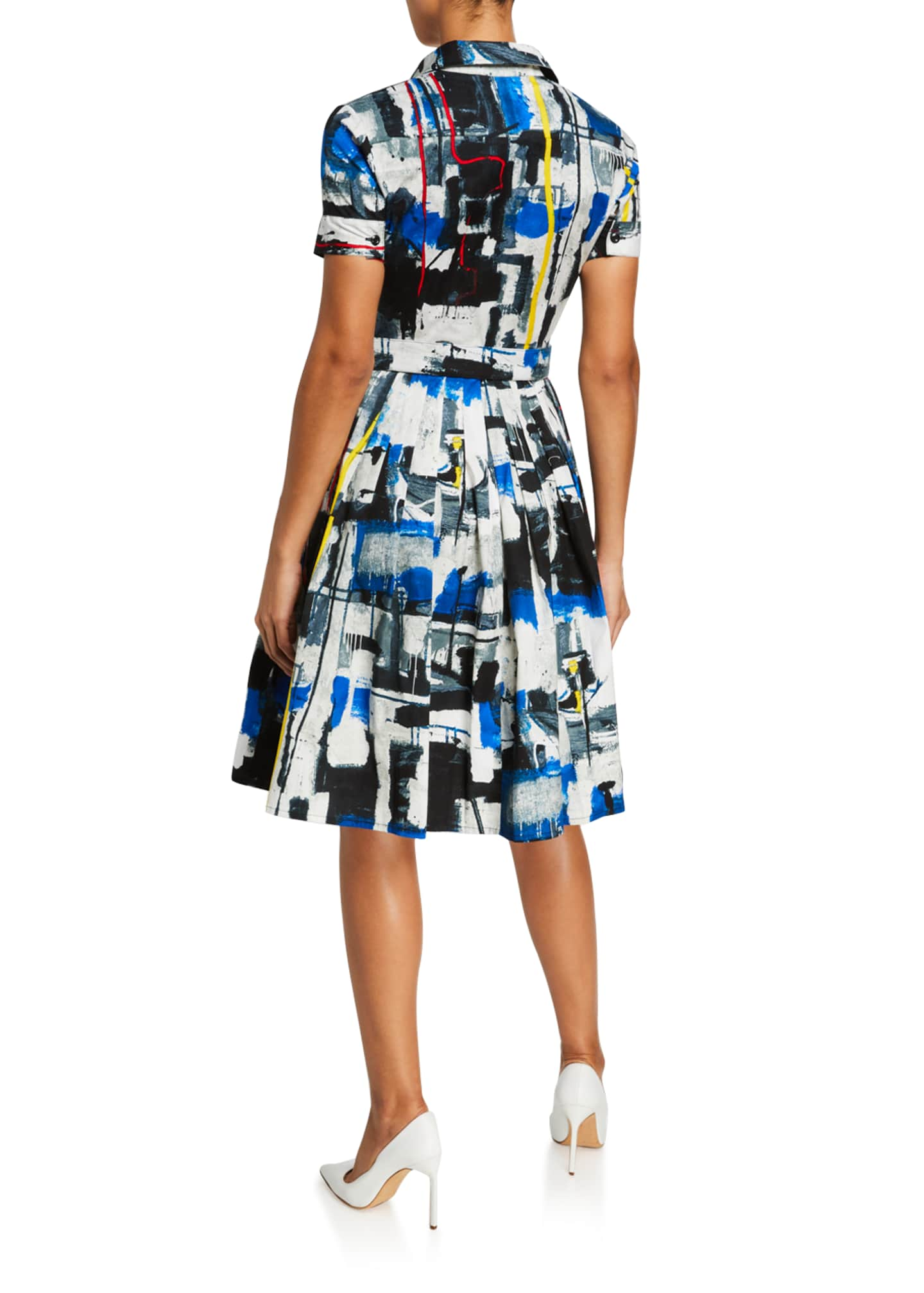 Image 3 of 3: Audrey Short-Sleeve Newman Abstract Stretch Cotton Shirtdress