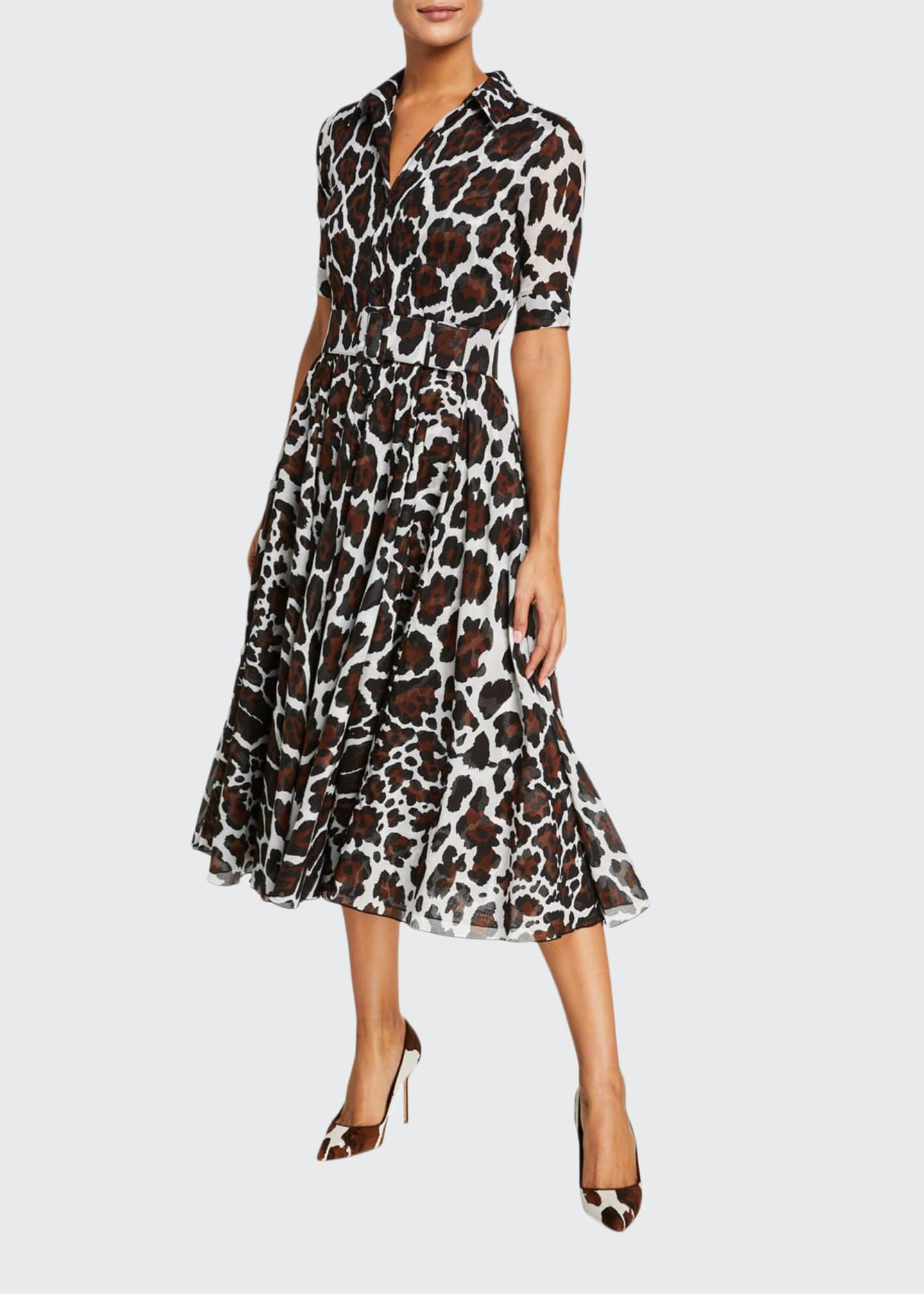 Samantha Sung Aster Jaguar Musola 1/2-Sleeve Midi Dress