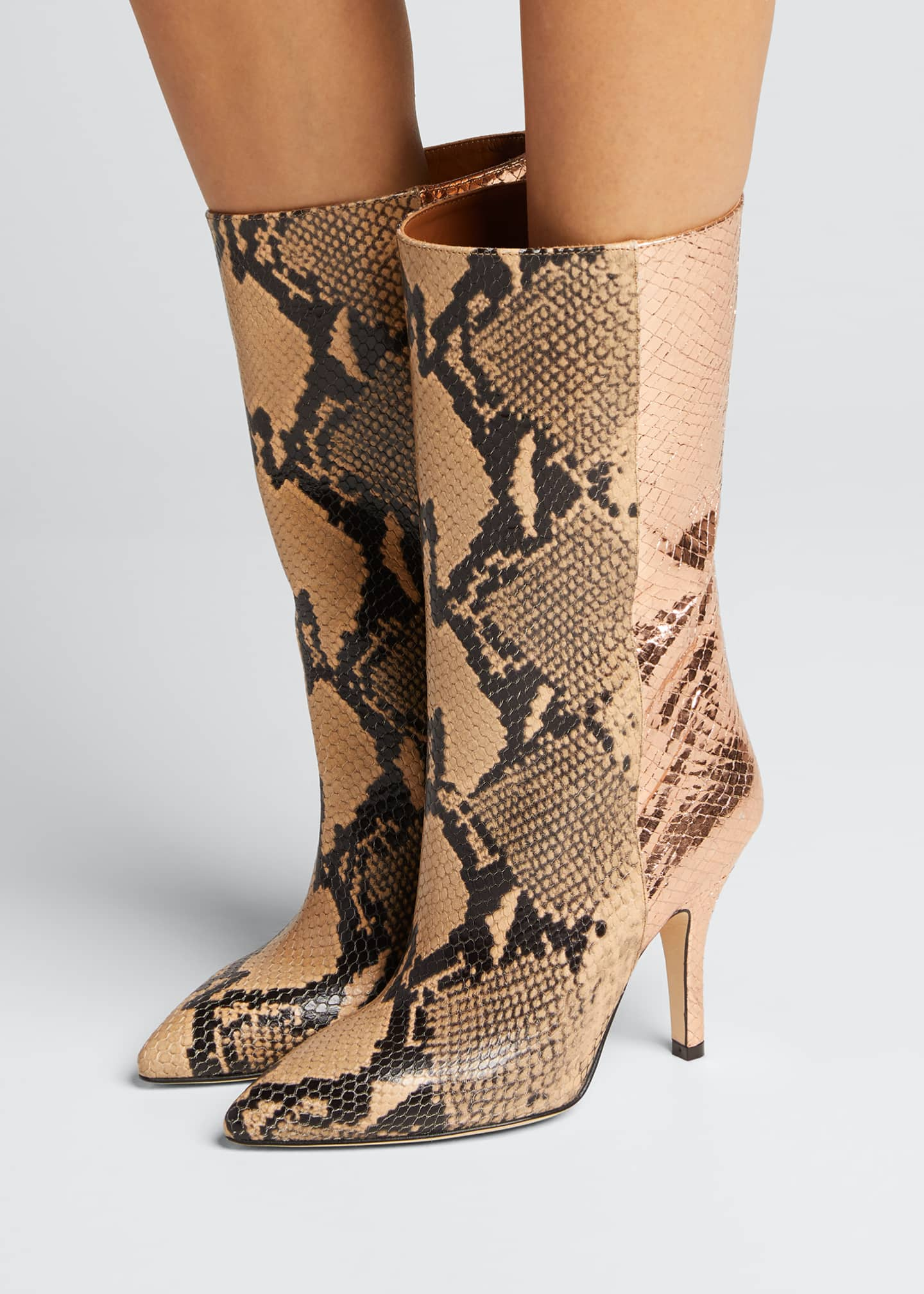 Image 2 of 5: Mixxed Snake-Embossed Leather Stiletto Booties