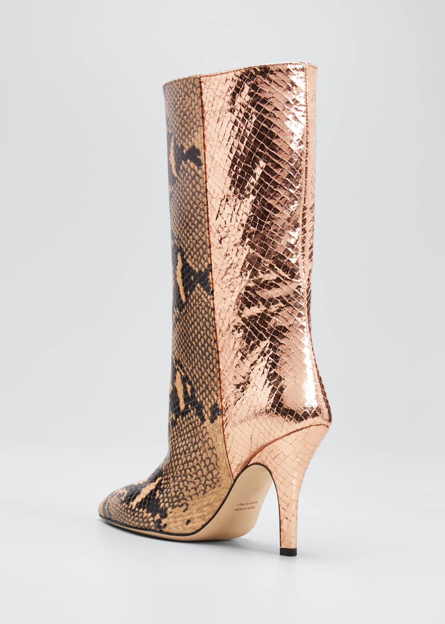 Image 4 of 5: Mixxed Snake-Embossed Leather Stiletto Booties