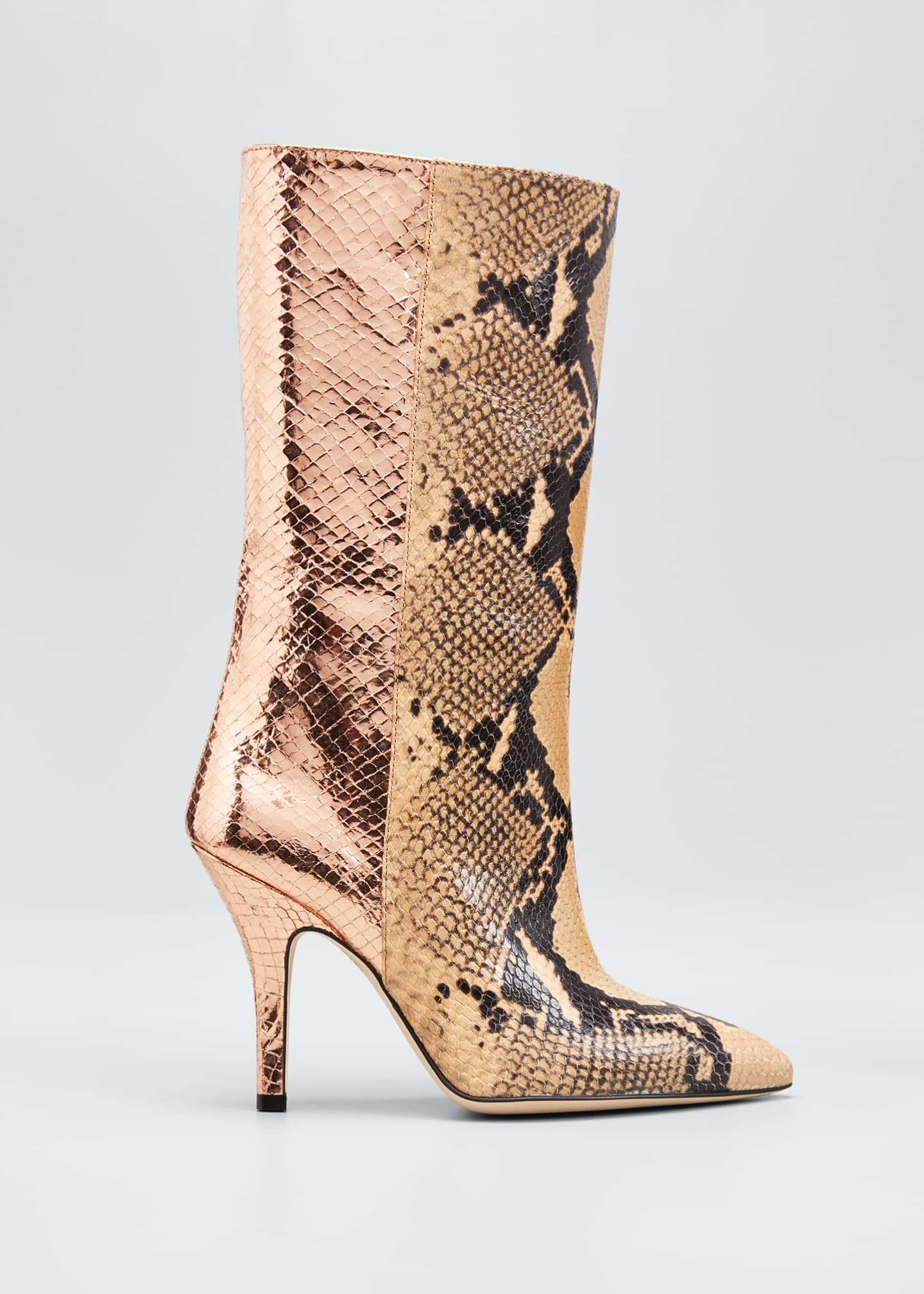 Image 1 of 5: Mixxed Snake-Embossed Leather Stiletto Booties
