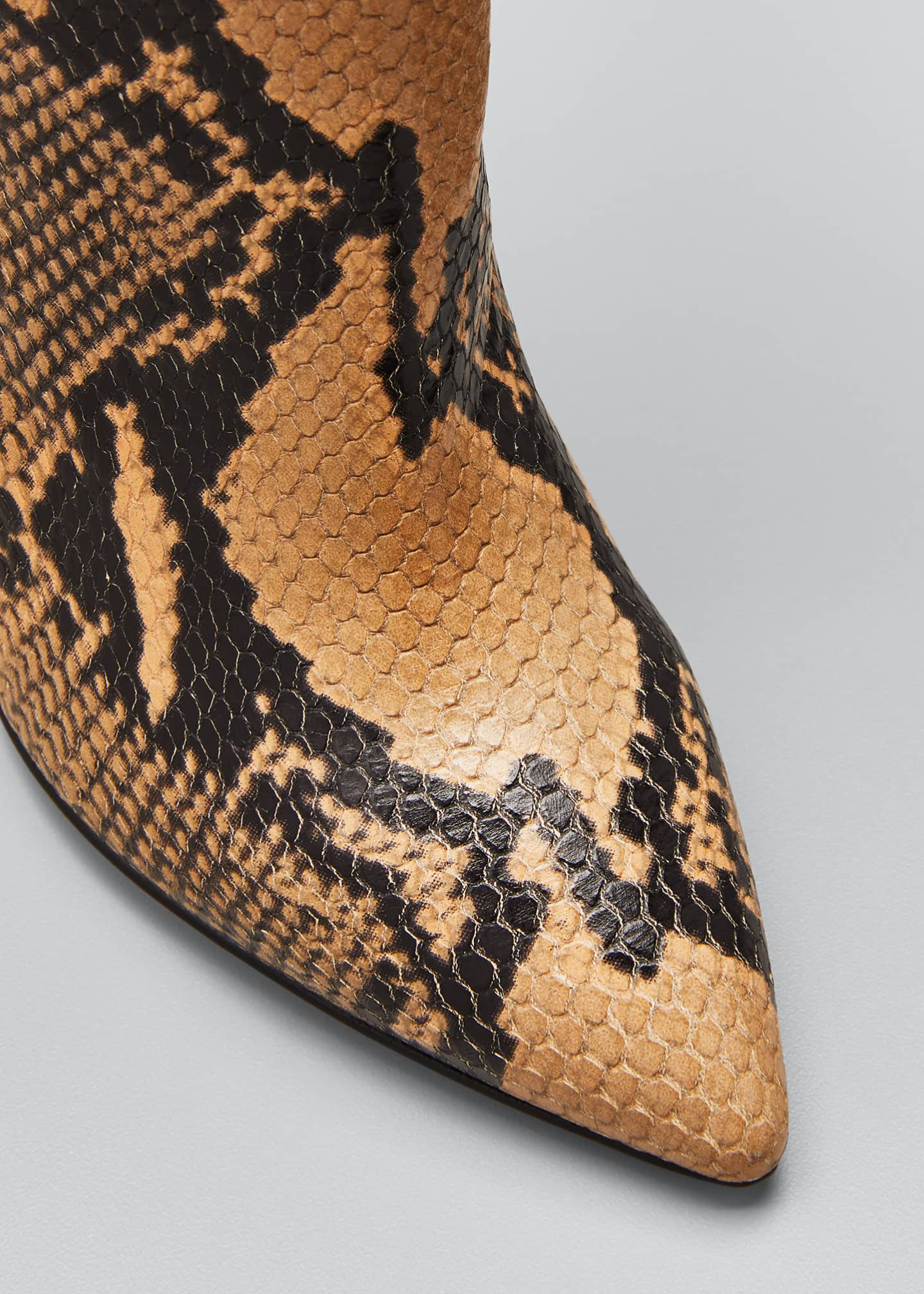 Image 5 of 5: Mixxed Snake-Embossed Leather Stiletto Booties