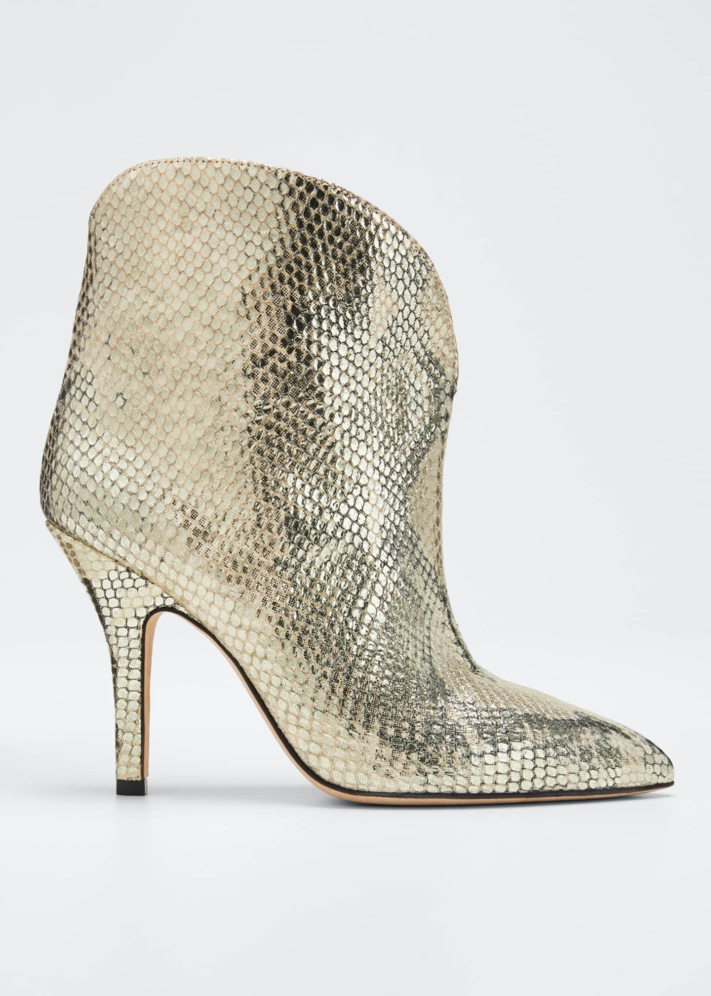 Paris Texas Metallic Python-Print Heeled Ankle Boots
