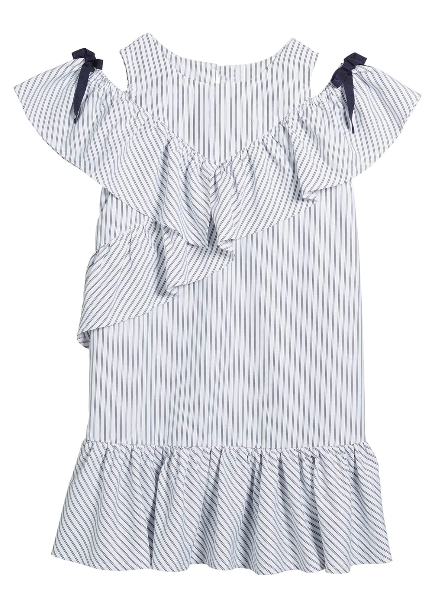 Habitual Girl's Striped Cold-Shoulder Ruffle Shift Dress, Size
