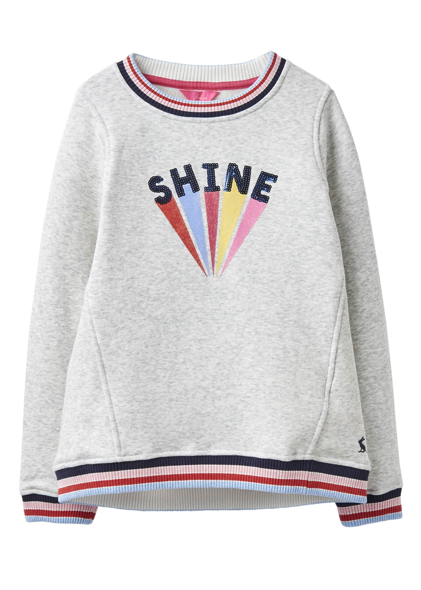 Joules Girl's Viola Shine Striped-Trim Sweatshirt, Size 4-10