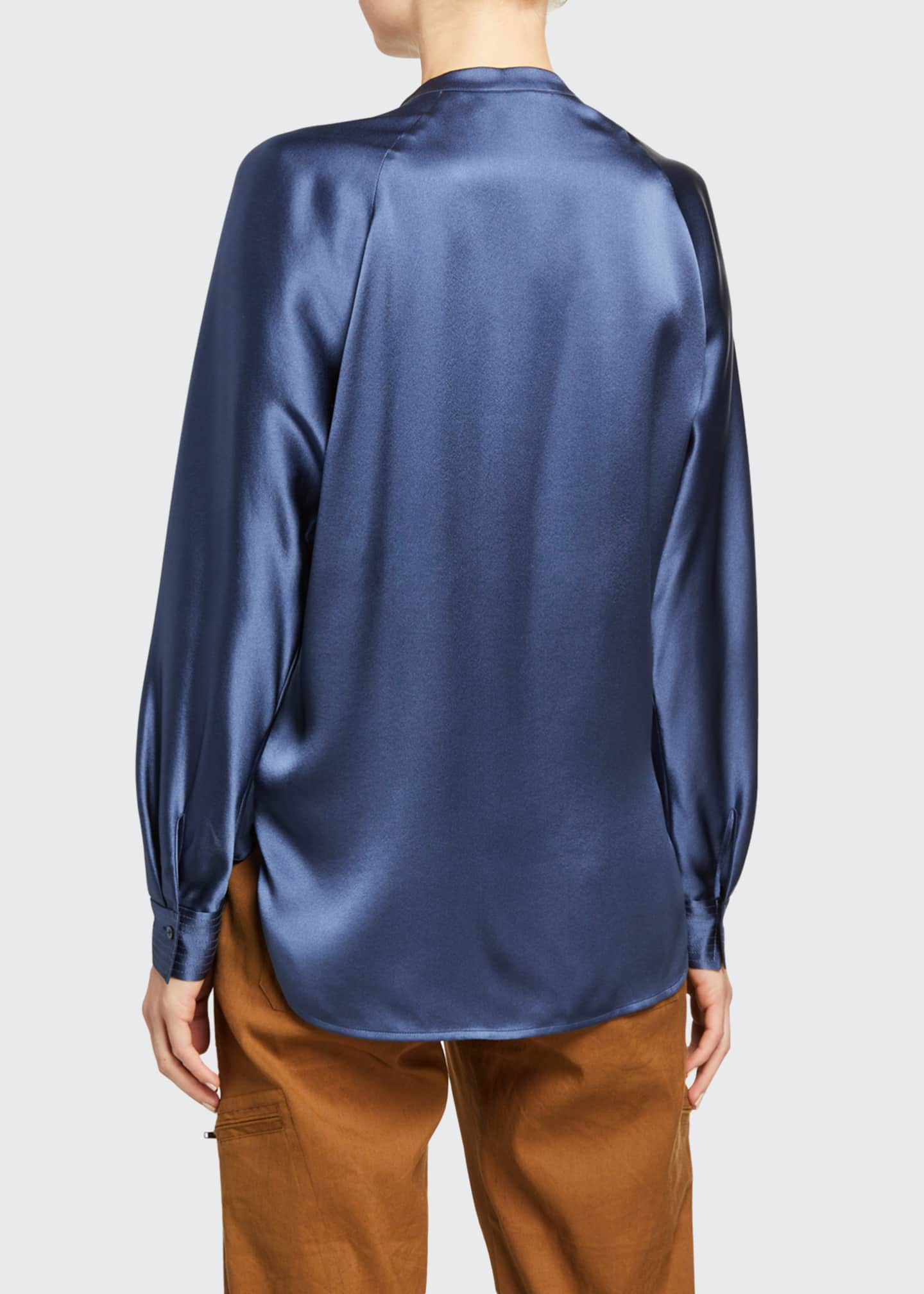 Image 2 of 2: Band-Collar Long-Sleeve Silk Blouse