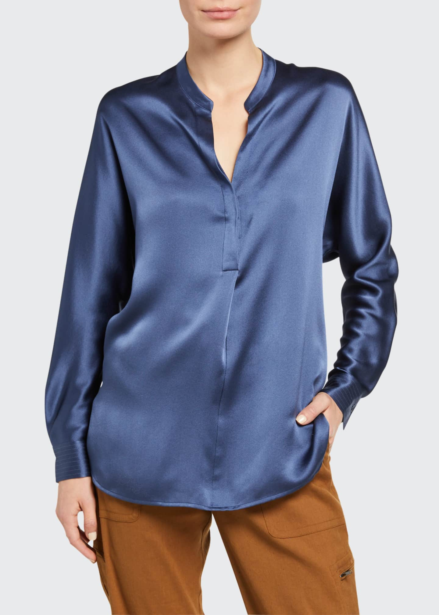 Image 1 of 2: Band-Collar Long-Sleeve Silk Blouse