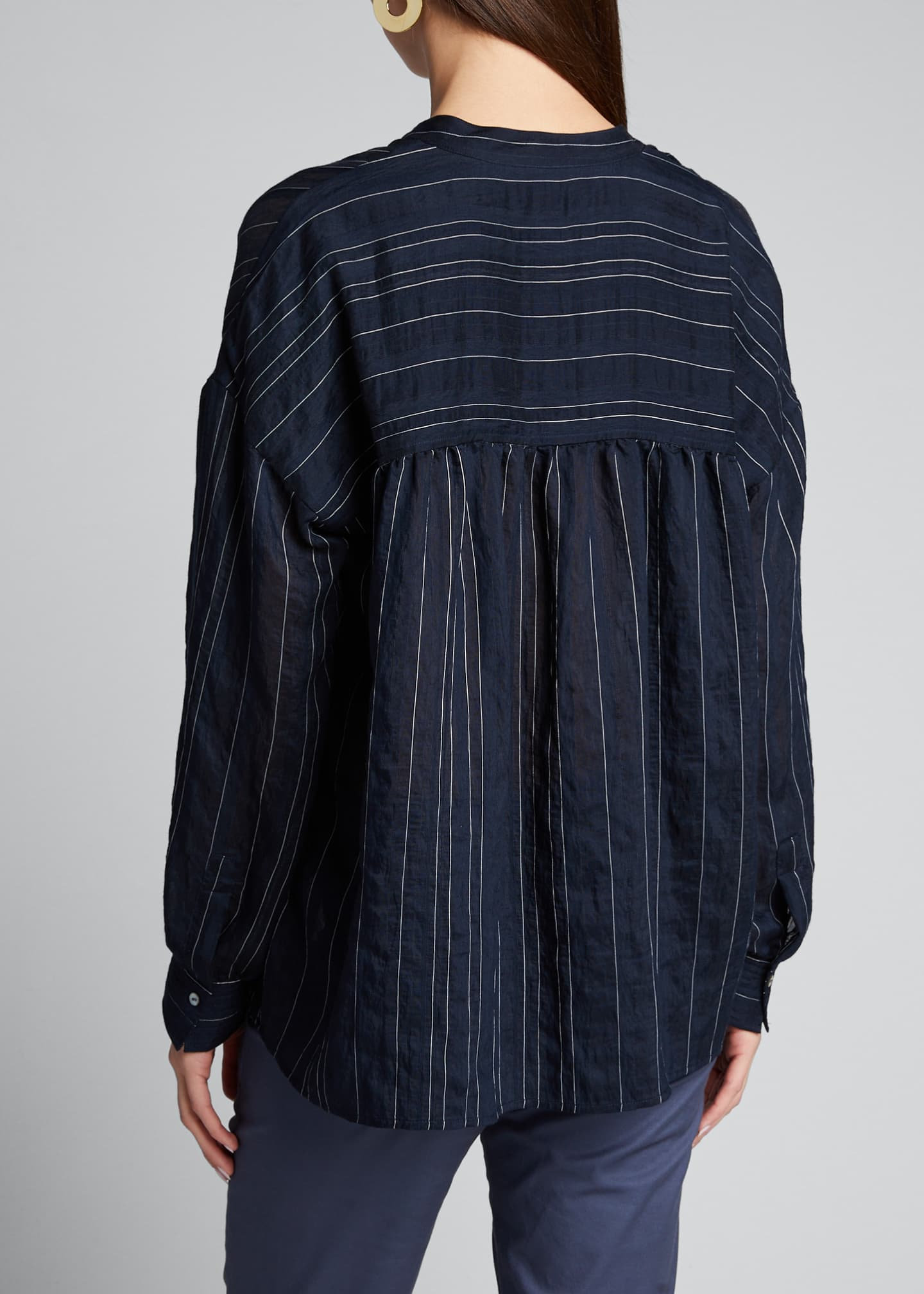 Image 2 of 5: Drapey Striped Pullover Blouse