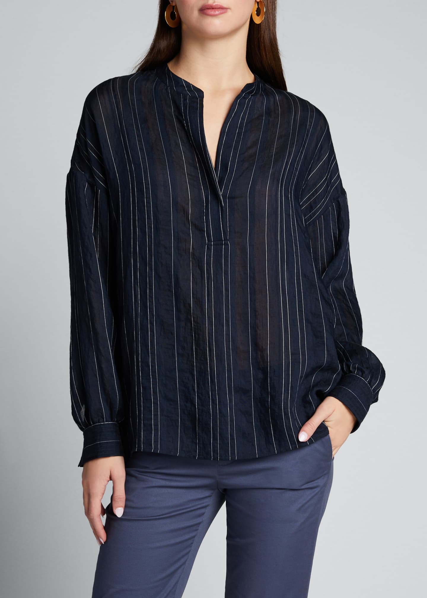 Image 3 of 5: Drapey Striped Pullover Blouse