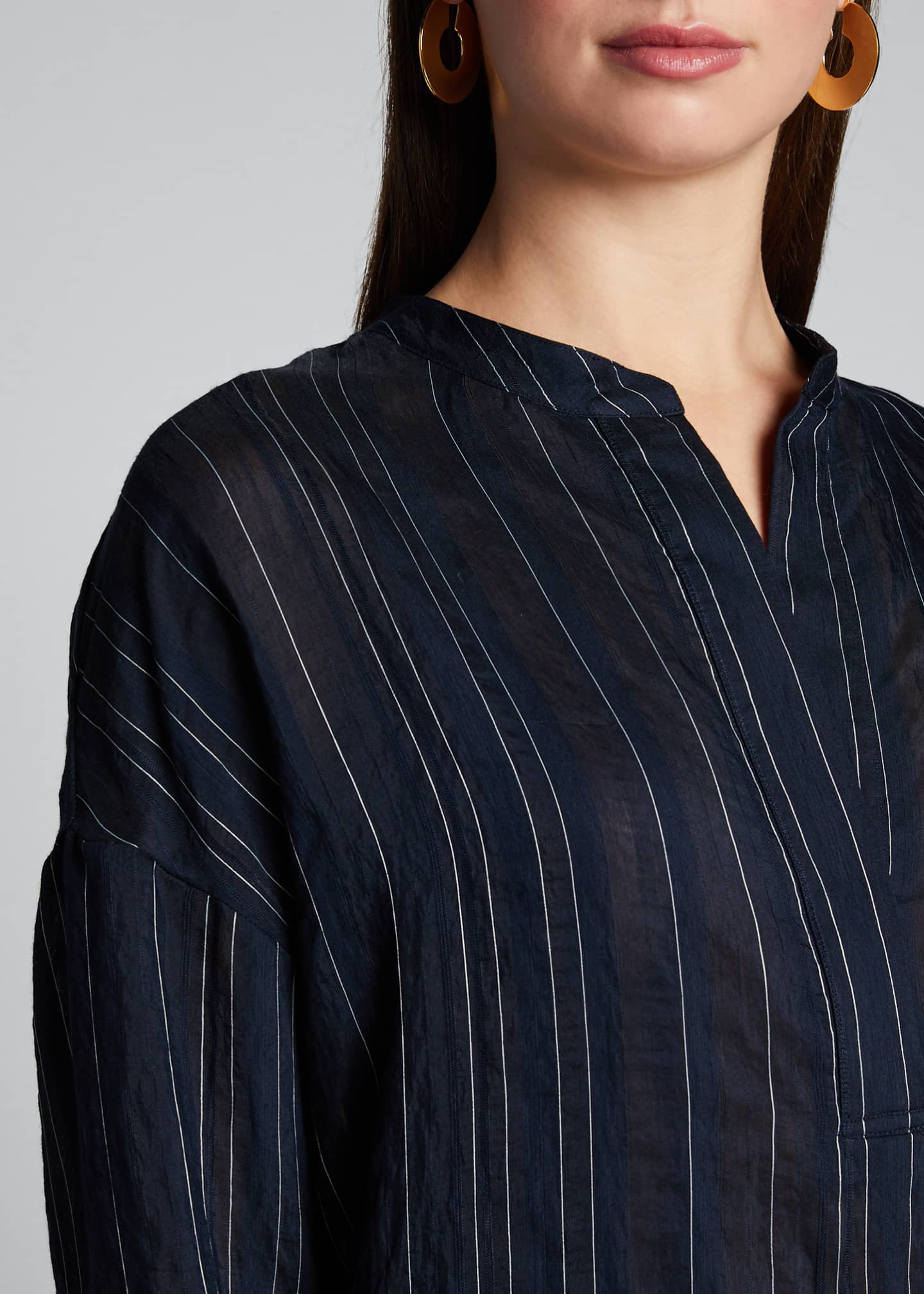 Image 4 of 5: Drapey Striped Pullover Blouse
