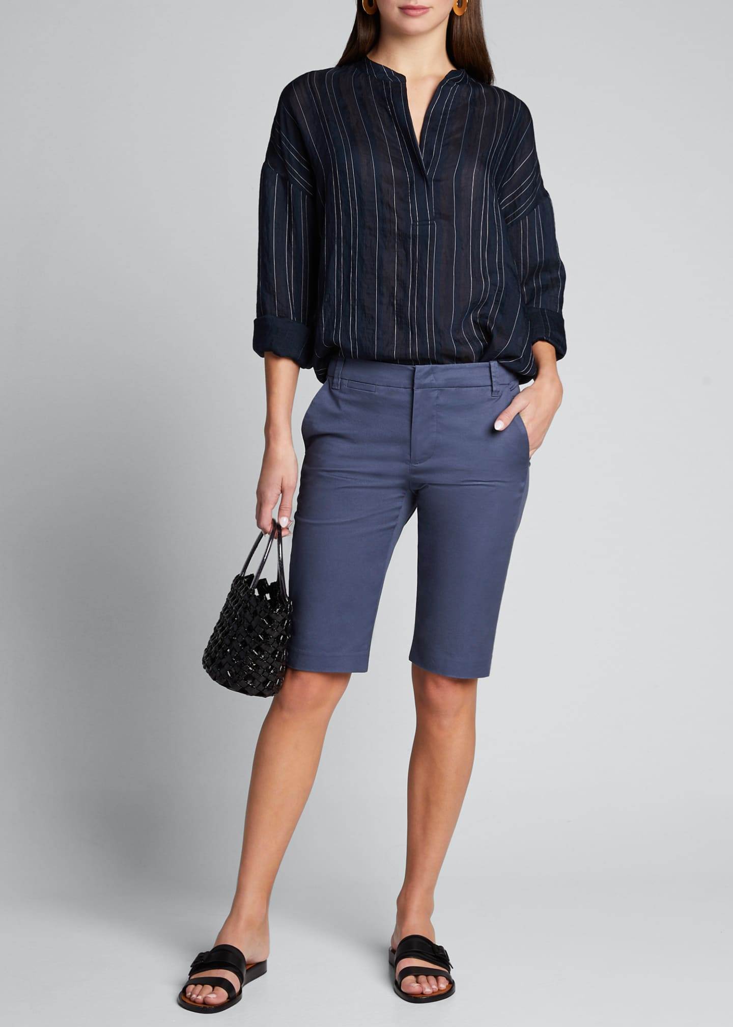 Image 1 of 5: Drapey Striped Pullover Blouse