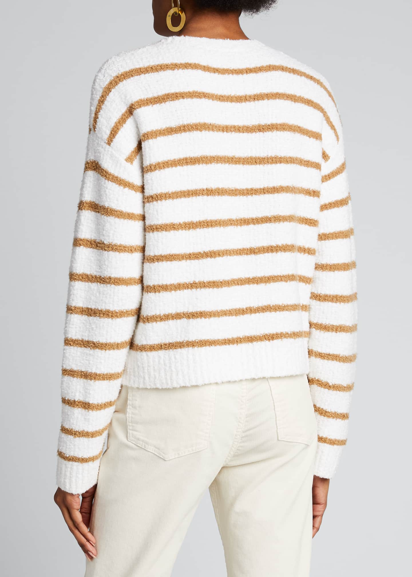 Image 2 of 5: Striped Crewneck Waffle Stitch Sweater