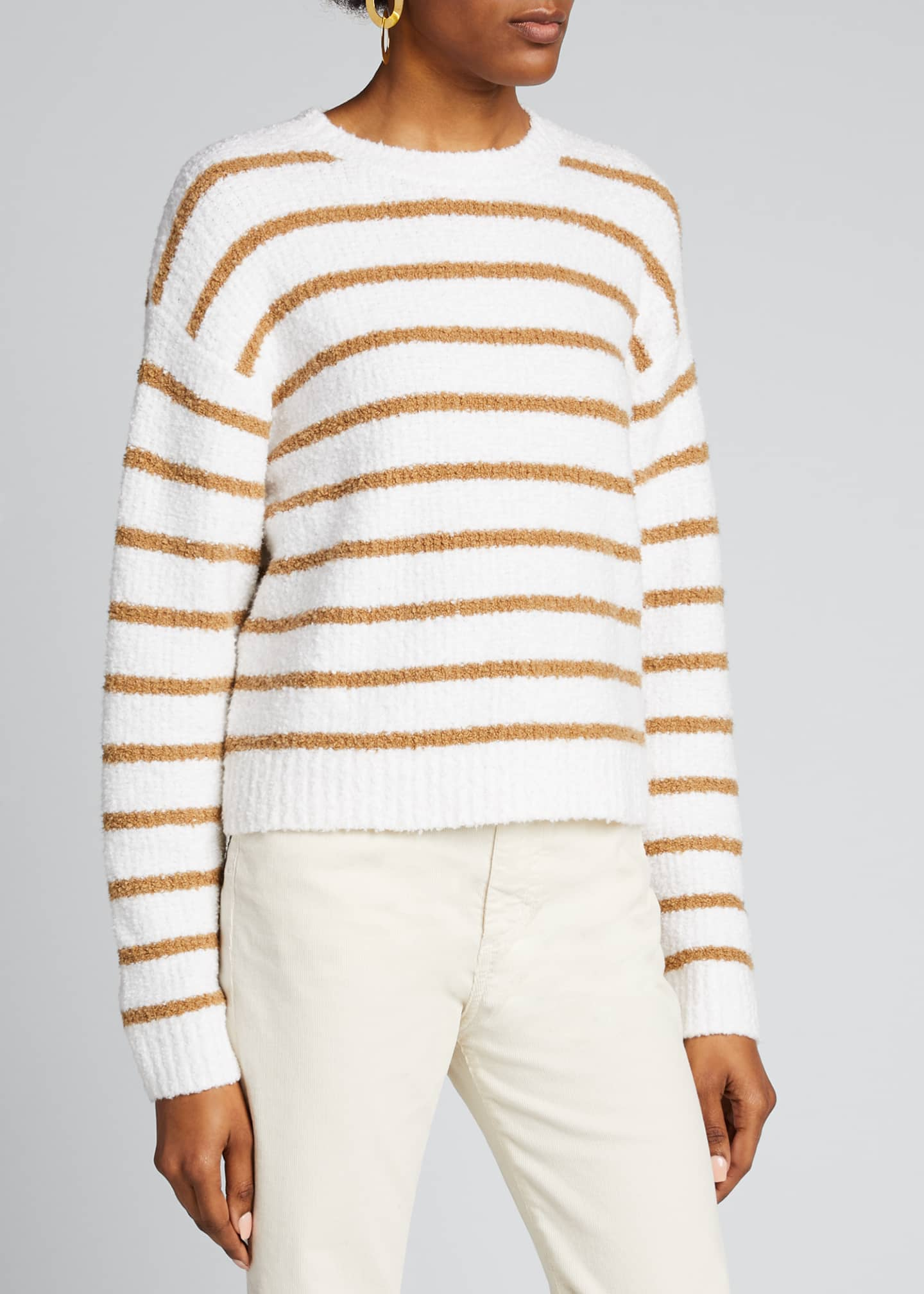 Image 3 of 5: Striped Crewneck Waffle Stitch Sweater