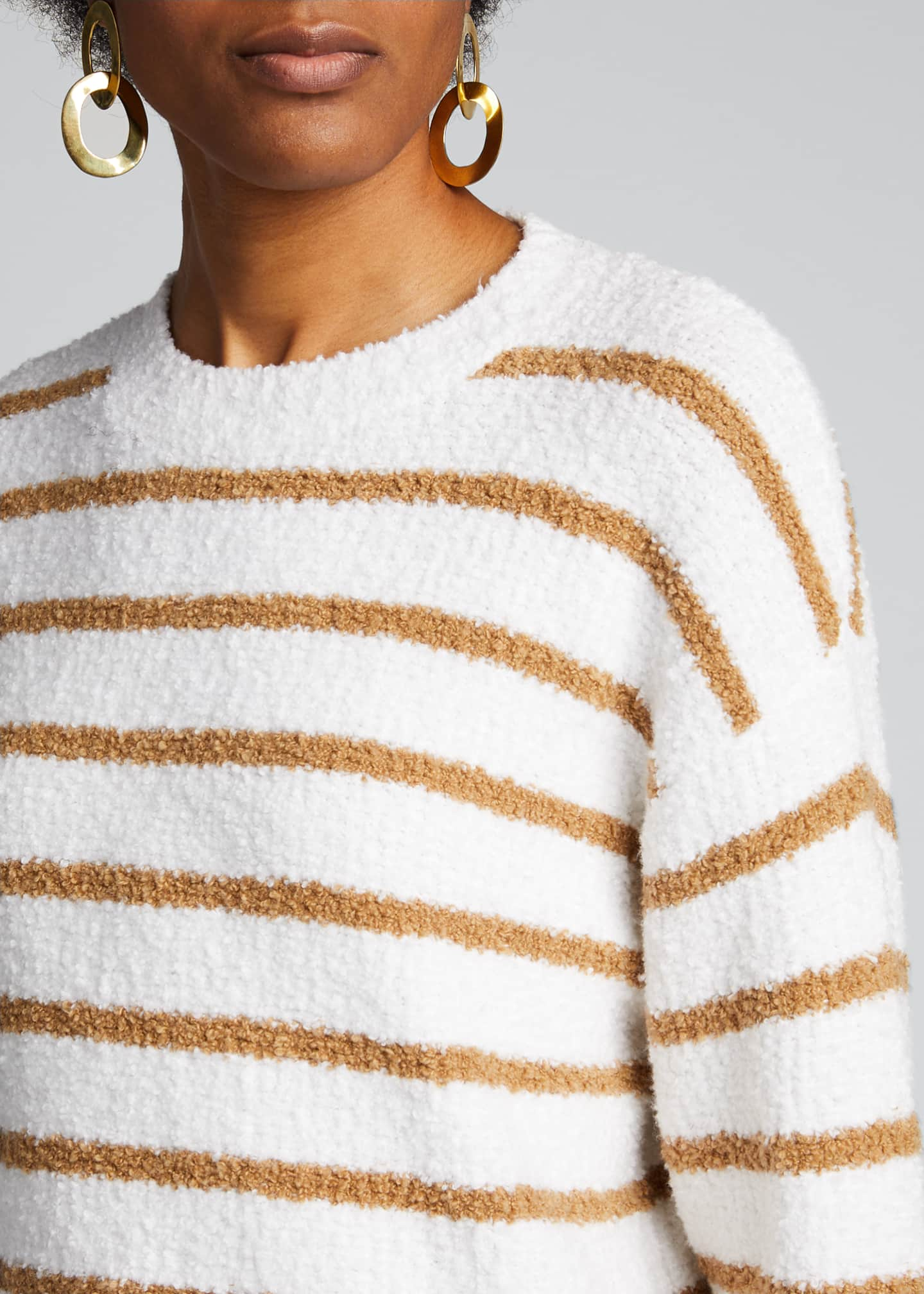 Image 4 of 5: Striped Crewneck Waffle Stitch Sweater