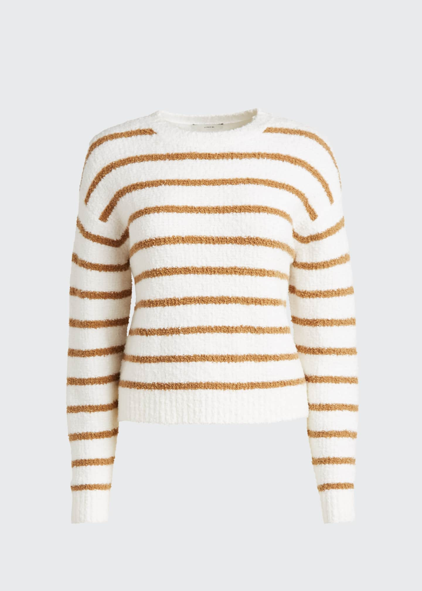 Image 5 of 5: Striped Crewneck Waffle Stitch Sweater