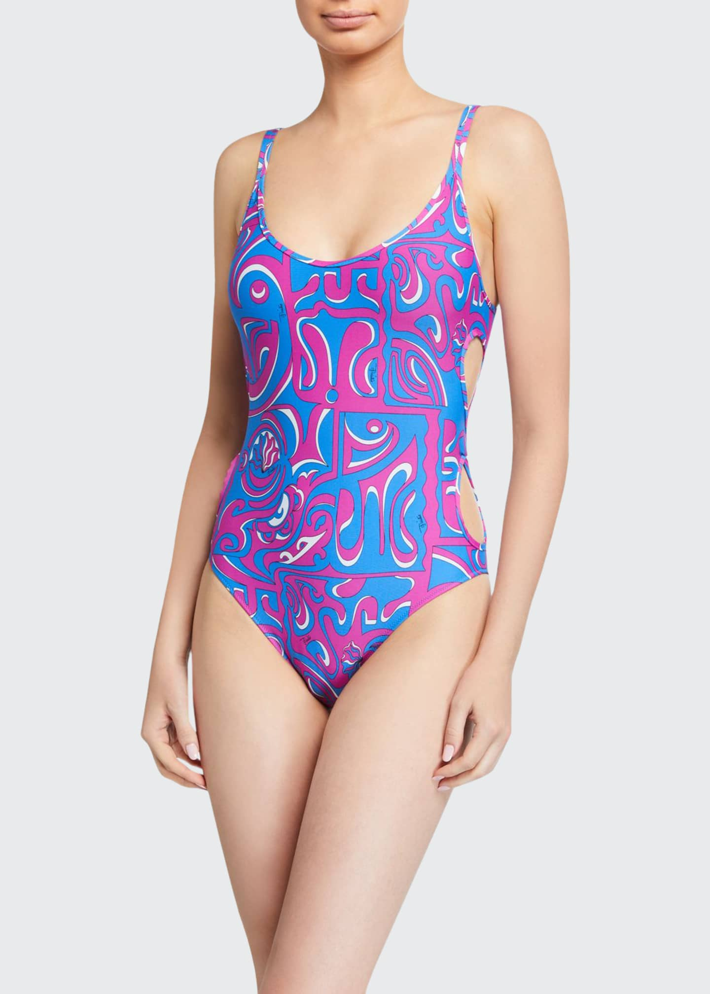 Emilio Pucci Printed Cutout One-Piece Swimsuit