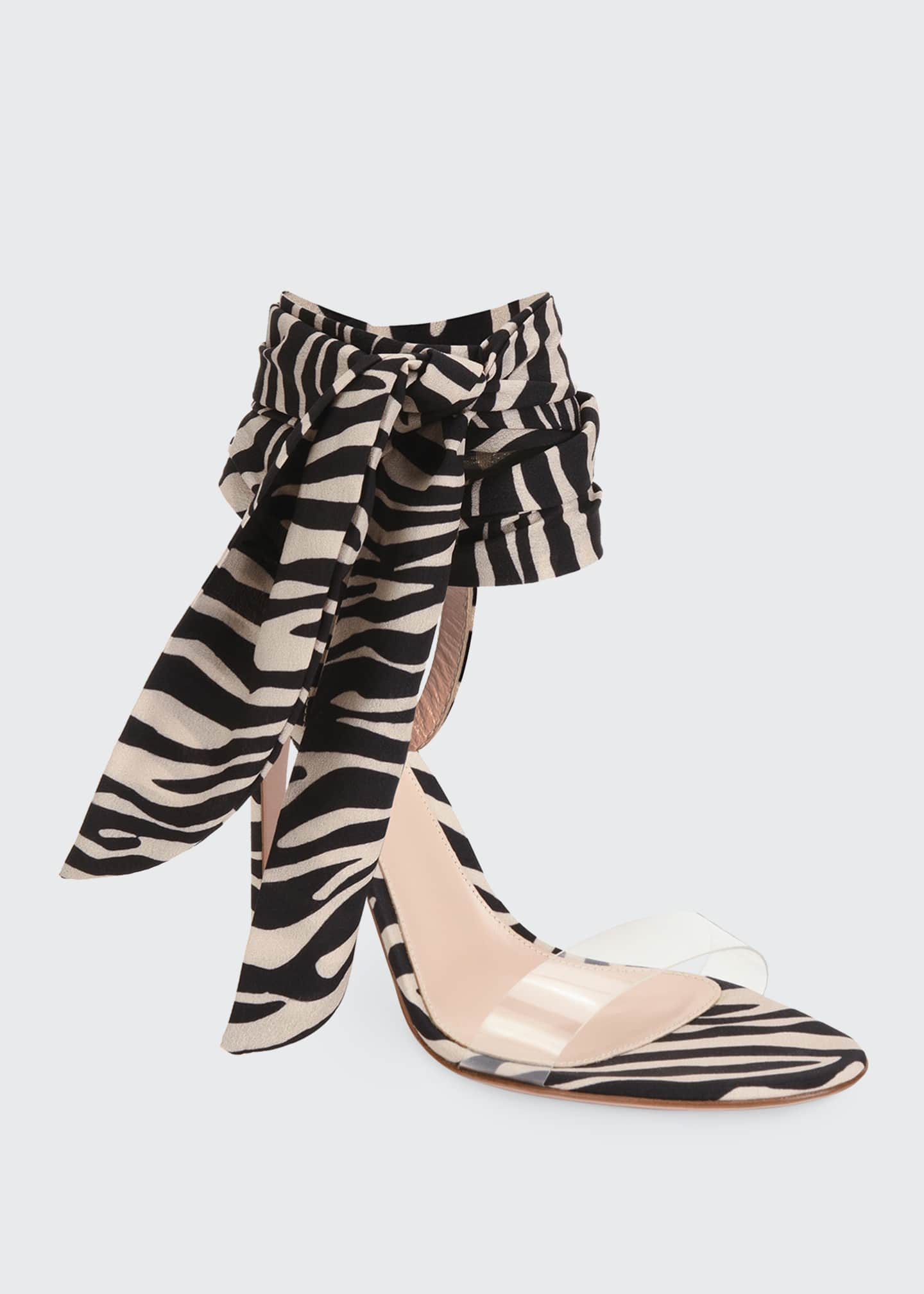 Image 2 of 4: Zebra Ankle-Wrap Sandals