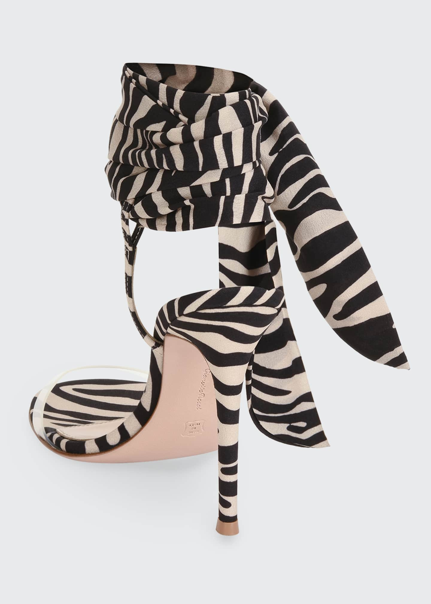 Image 3 of 4: Zebra Ankle-Wrap Sandals