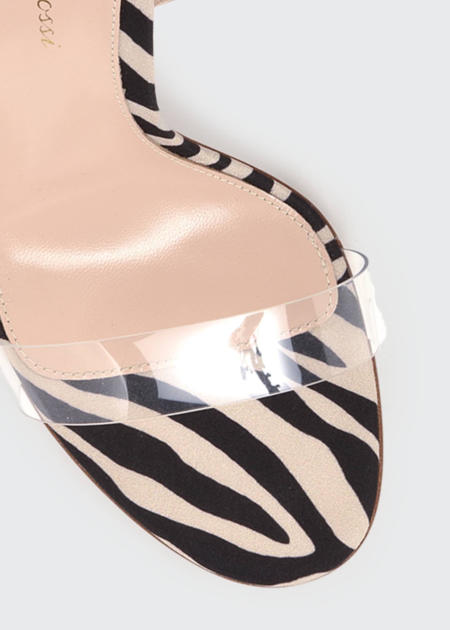 Image 4 of 4: Zebra Ankle-Wrap Sandals