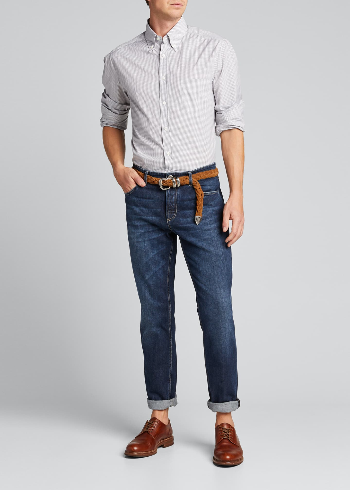 Image 1 of 5: Men's Micro-Check Sport Shirt