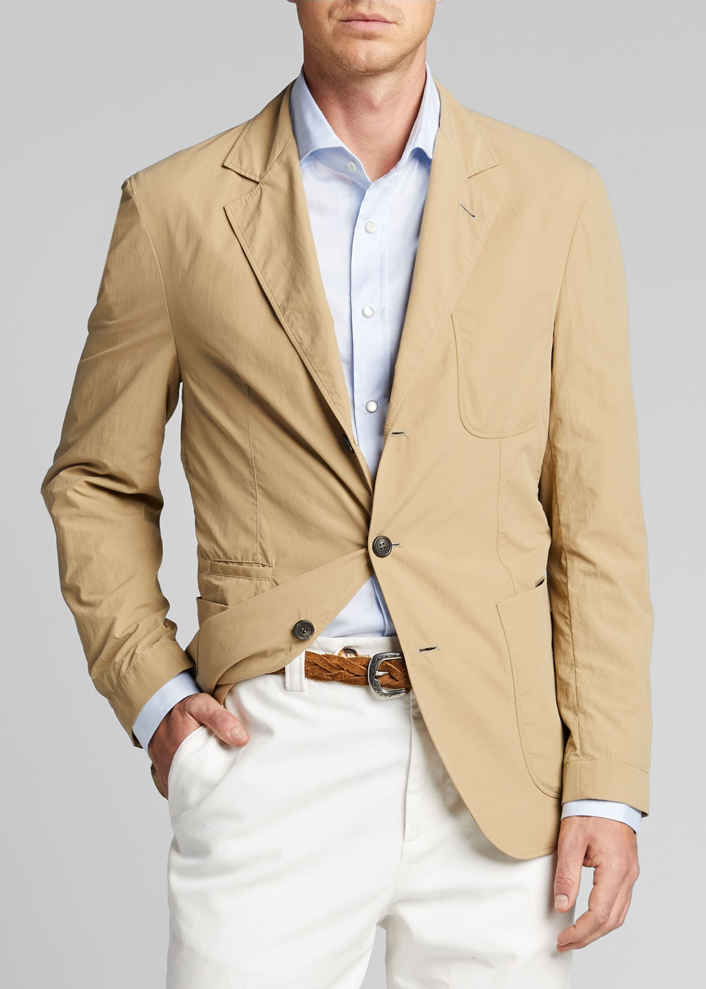 Image 3 of 4: Men's Technical Weave Three-Button Jacket