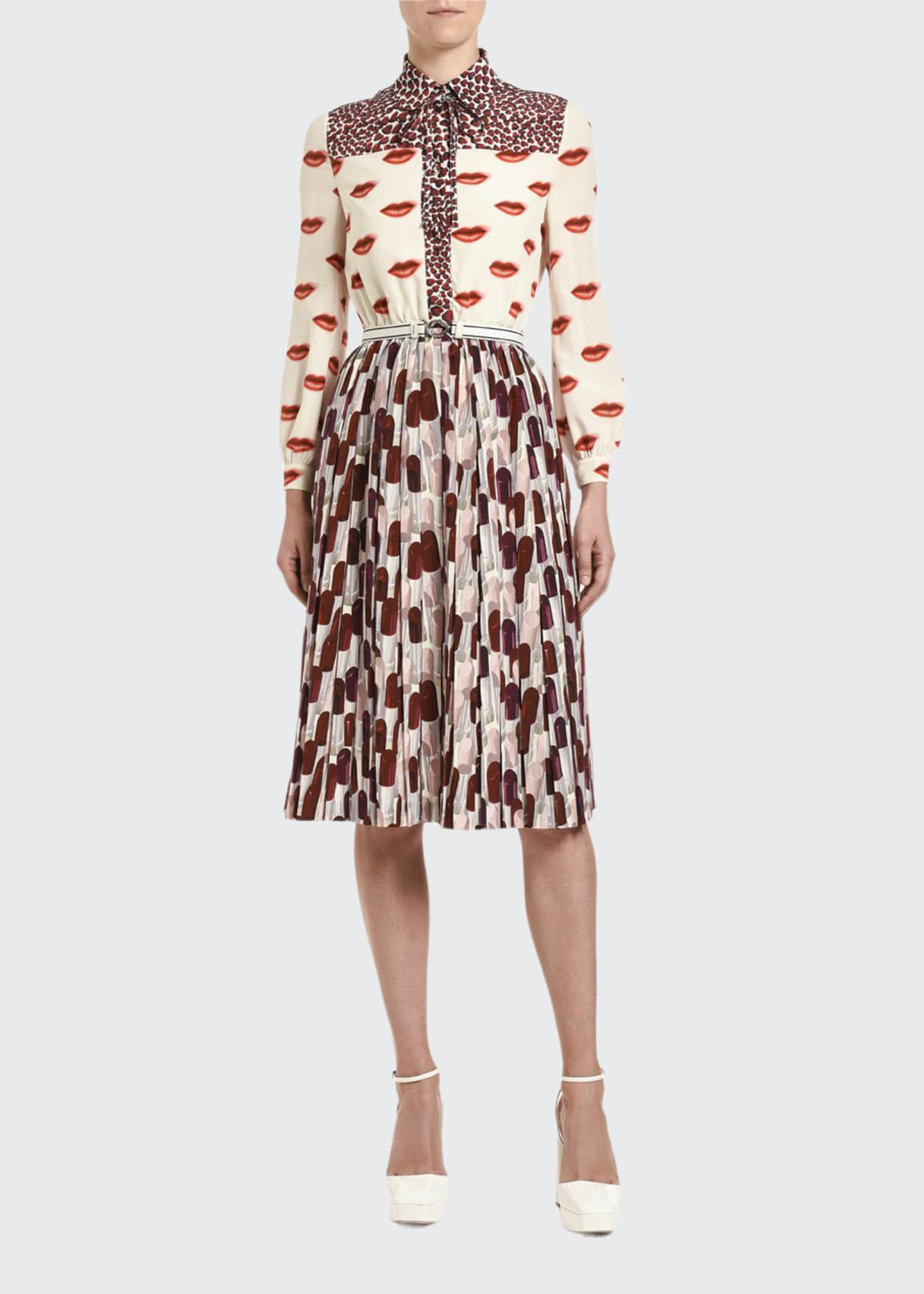 Prada Lipstick & Animal-Print Crepe Bow-Neck Dress