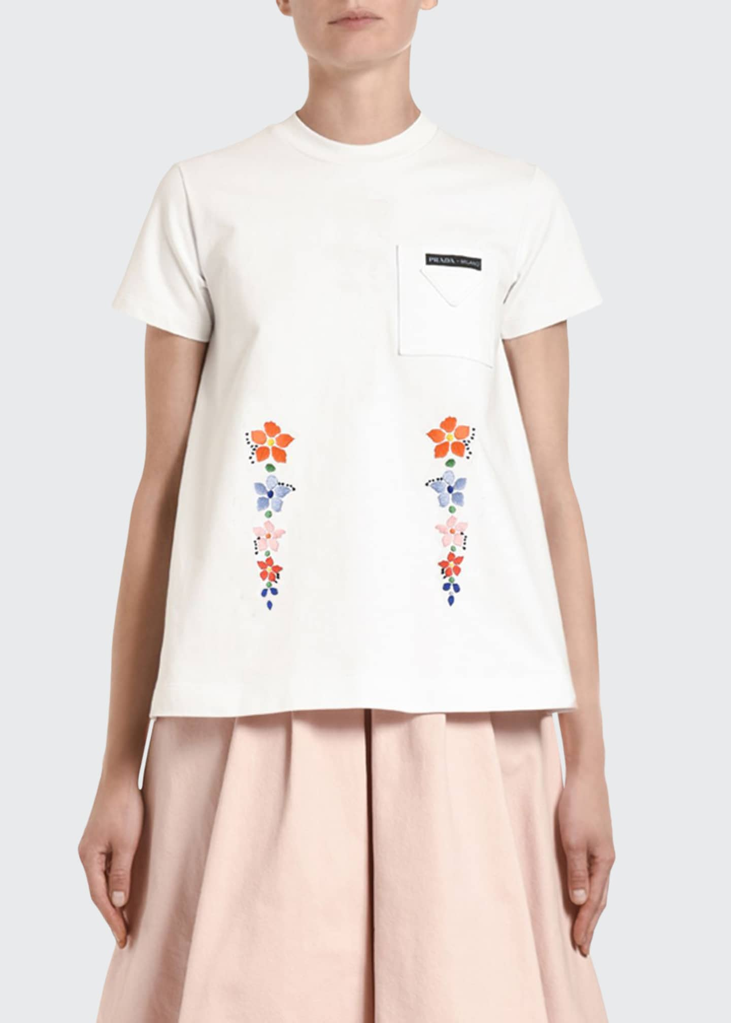 Prada Edelweiss Embroidered T-Shirt