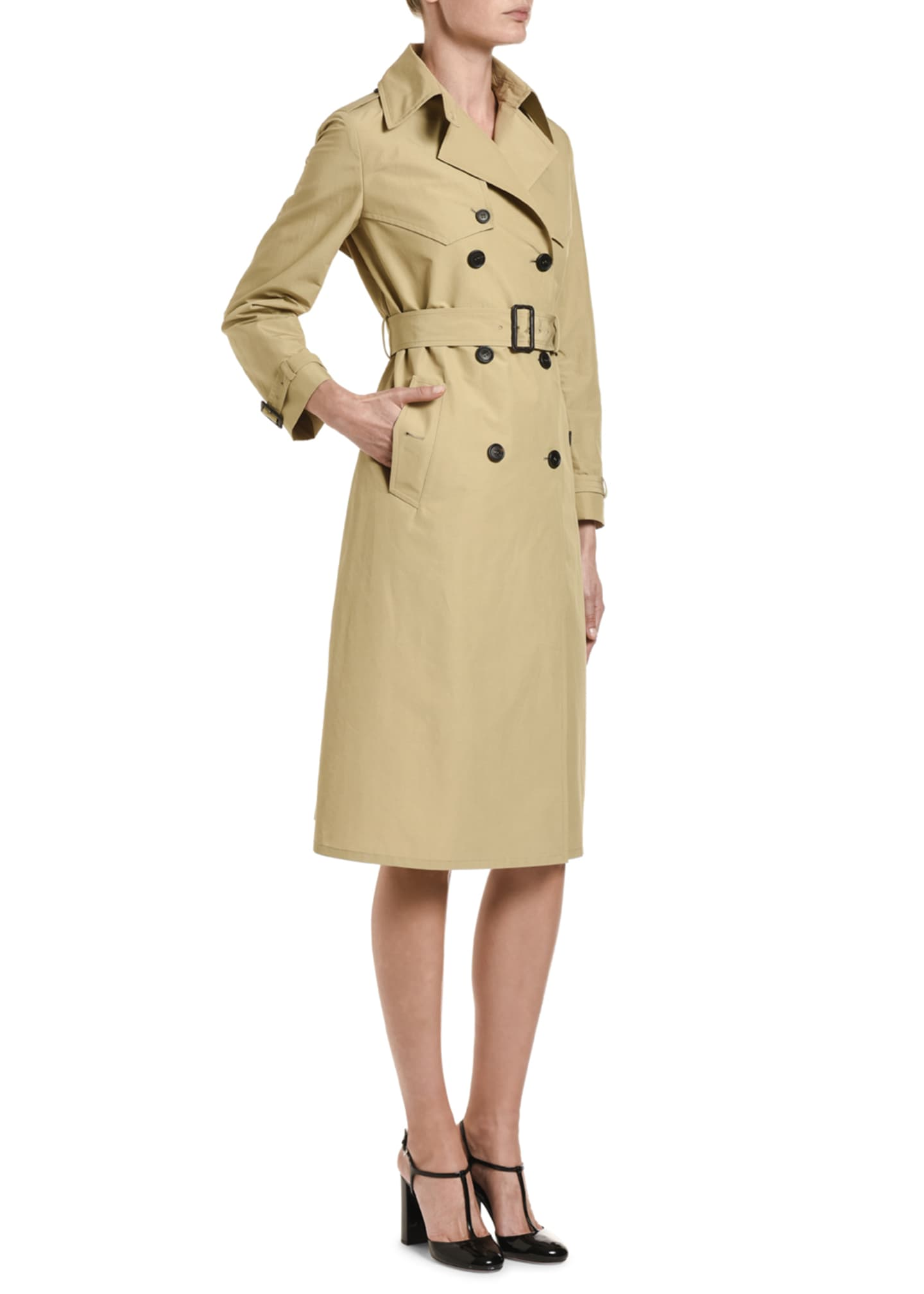 Image 3 of 3: Tech Poplin Double-Breasted Trench Coat