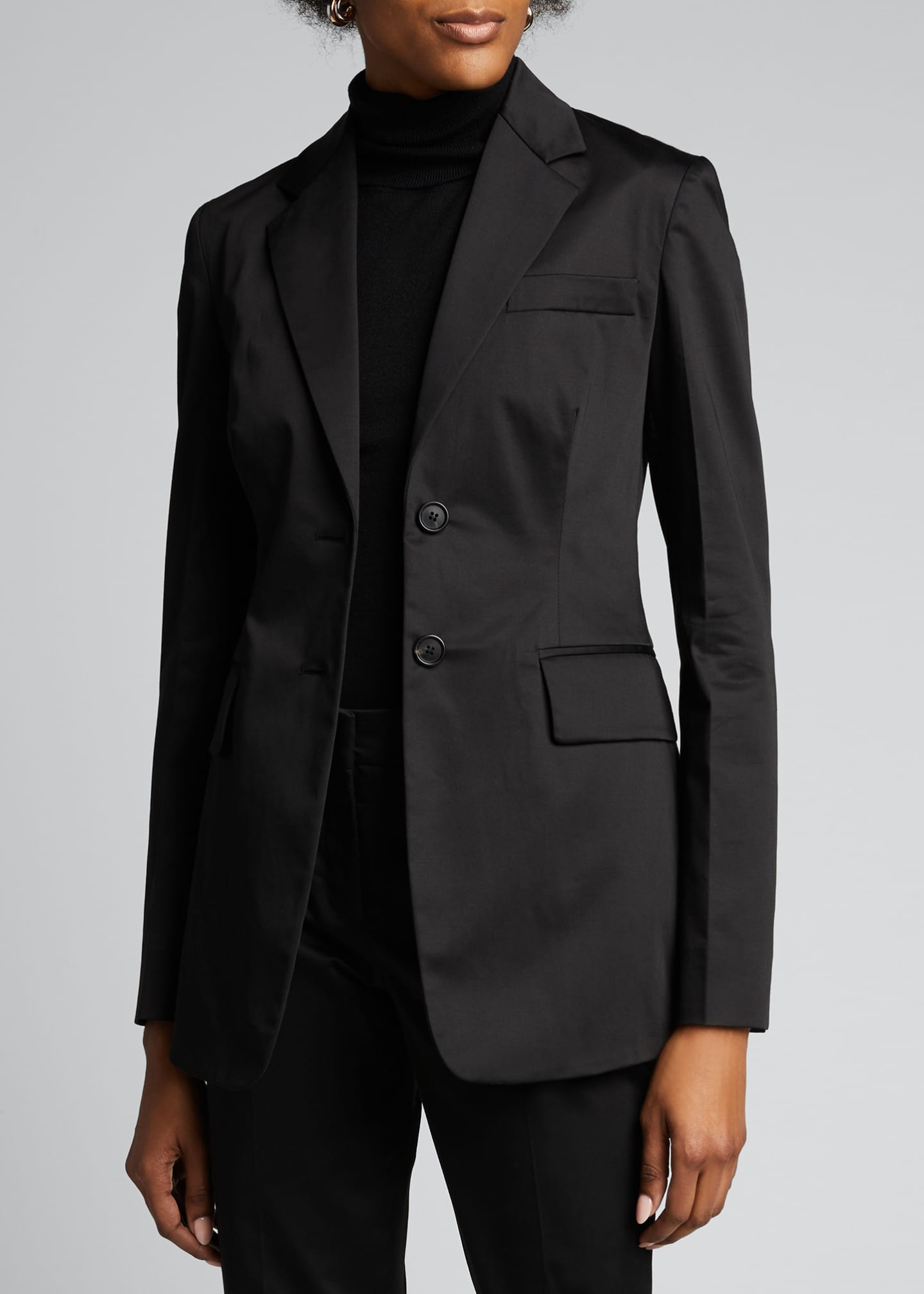 Image 3 of 5: Cotton Sateen Fitted Blazer